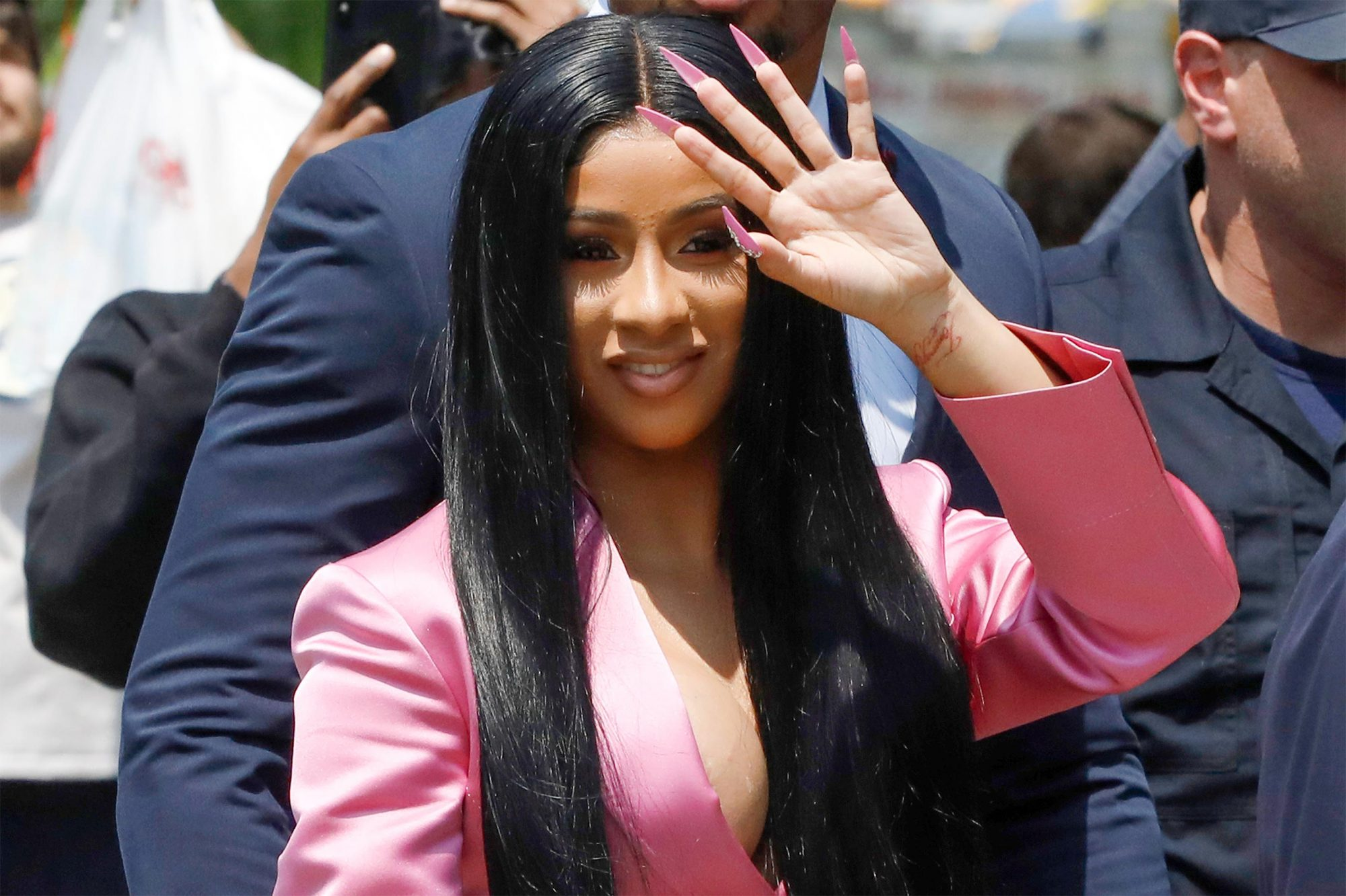 Mandatory Credit: Photo by Mark Lennihan/AP/Shutterstock (10265493c) Cardi B arrives at Queens Criminal Court, in New York. Police say Cardi B, whose real name is Belcalis Almanzar, and her entourage were at a nightclub last fall when she argued with a bartender. They say a fight broke out in which chairs, bottles and hookah pipes were thrown, slightly injuring the woman and another employee. She has been charged with misdemeanor reckless endangerment and assault Cardi B Strip Club Fracas, New York, USA - 31 May 2019