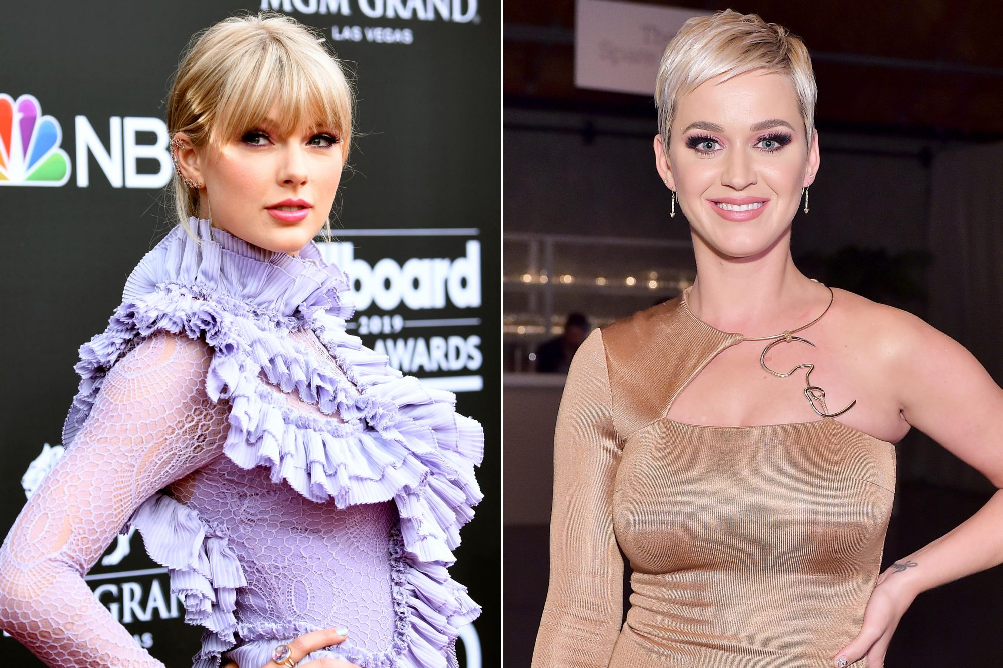 LAS VEGAS, NEVADA - MAY 01: Taylor Swift attends the 2019 Billboard Music Awards at MGM Grand Garden Arena on May 01, 2019 in Las Vegas, Nevada. (Photo by Frazer Harrison/Getty Images) CULVER CITY, CA - NOVEMBER 10: Katy Perry poses at the 2018 Baby2Baby Gala Presented by Paul Mitchell at 3LABS on November 10, 2018 in Culver City, California. (Photo by Stefanie Keenan/Getty Images for Baby2Baby)