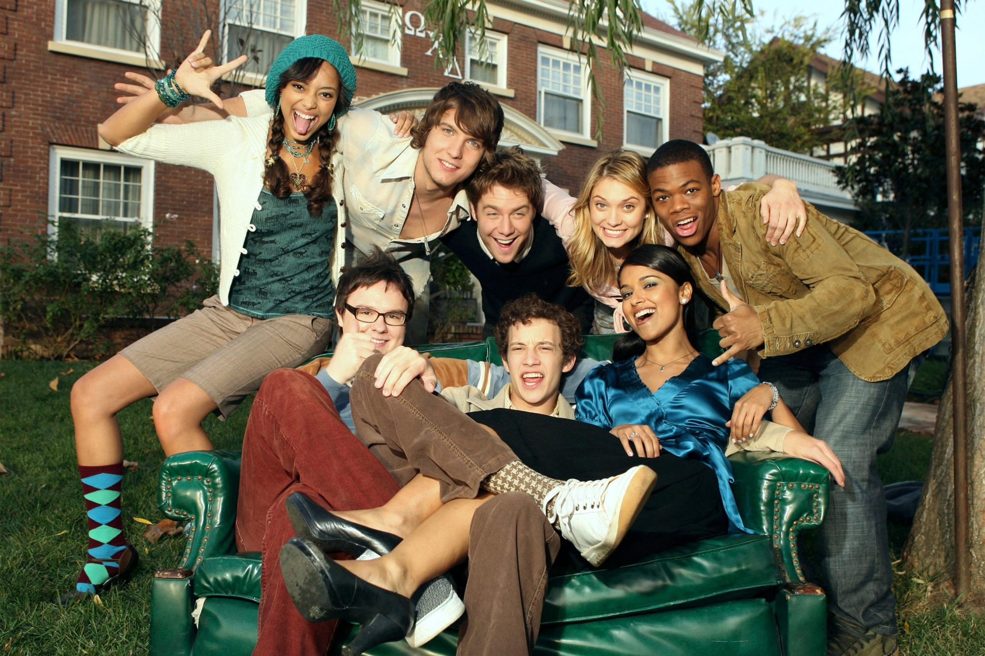 (BACK) AMBER STEVENS, SCOTT MICHAEL FOSTER, JAKE McDORMAN, SPENCER GRAMMER, PAUL JAMES - (FRONT) CLARK DUKE, JACOB ZACHAR, DILSHAD VADSARIA