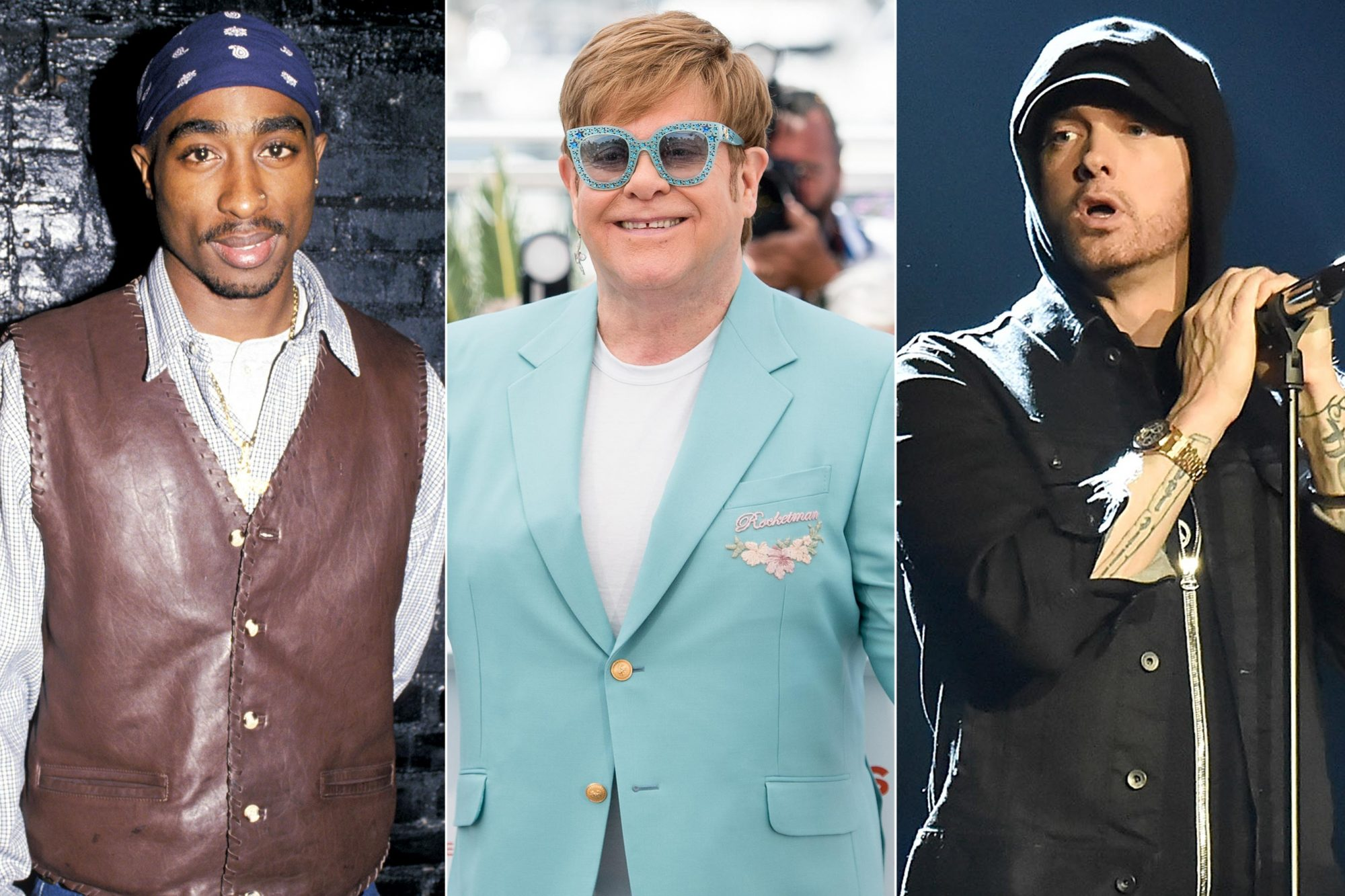 "Party For Cowboy Noir Thriller ""Red Rock West"" Tupac Shakur (Photo by Ron Galella/WireImage) CANNES, FRANCE - MAY 16: Elton John attends the photocall for ""Rocketman"" during the 72nd annual Cannes Film Festival on May 16, 2019 in Cannes, France. (Photo by Samir Hussein/WireImage) LONDON, ENGLAND - NOVEMBER 12: Eminem performs on stage during the MTV EMAs 2017 held at The SSE Arena, Wembley on November 12, 2017 in London, England. (Photo by Kevin Mazur/WireImage)"