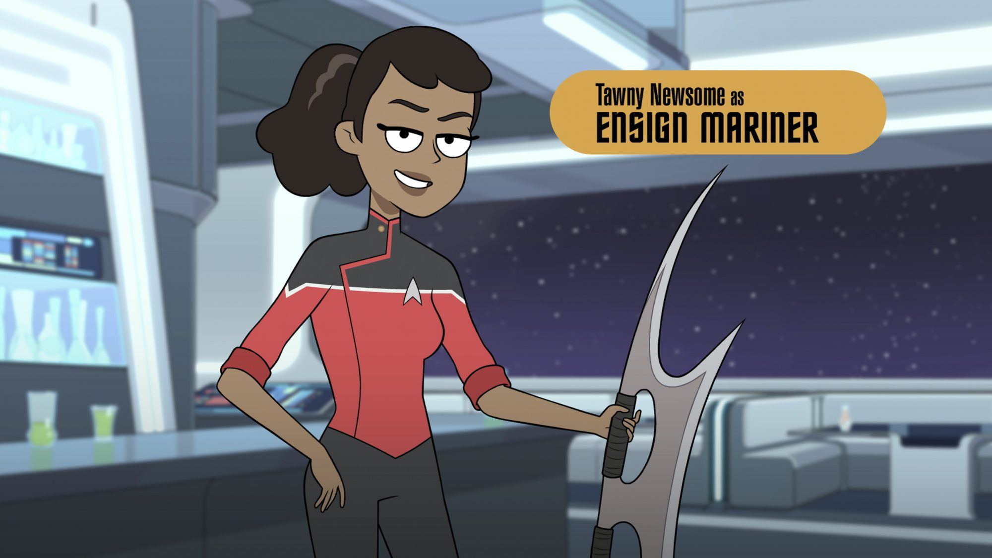 Pictured: Tawny Newsome as Ensign Mariner of the CBS All Access series STAR TREK: LOWER DECKS. ©2019 CBS Interactive, Inc. All Rights Reserved.