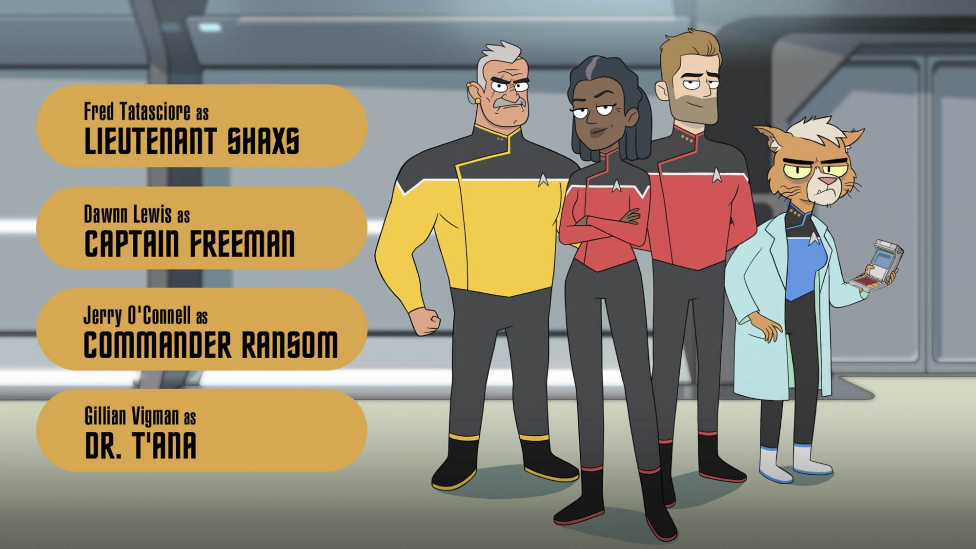 Pictured (l-r): Fred Tatasciore as Lieutenant Shaxs; Dawnn Lewis as Captain Freeman; Jerry O'Connell as Commander Ransom; Gillian Vigman as Dr. T'ana; of the CBS All Access series STAR TREK: LOWER DECKS. ©2019 CBS Interactive, Inc. All Rights Reserved.