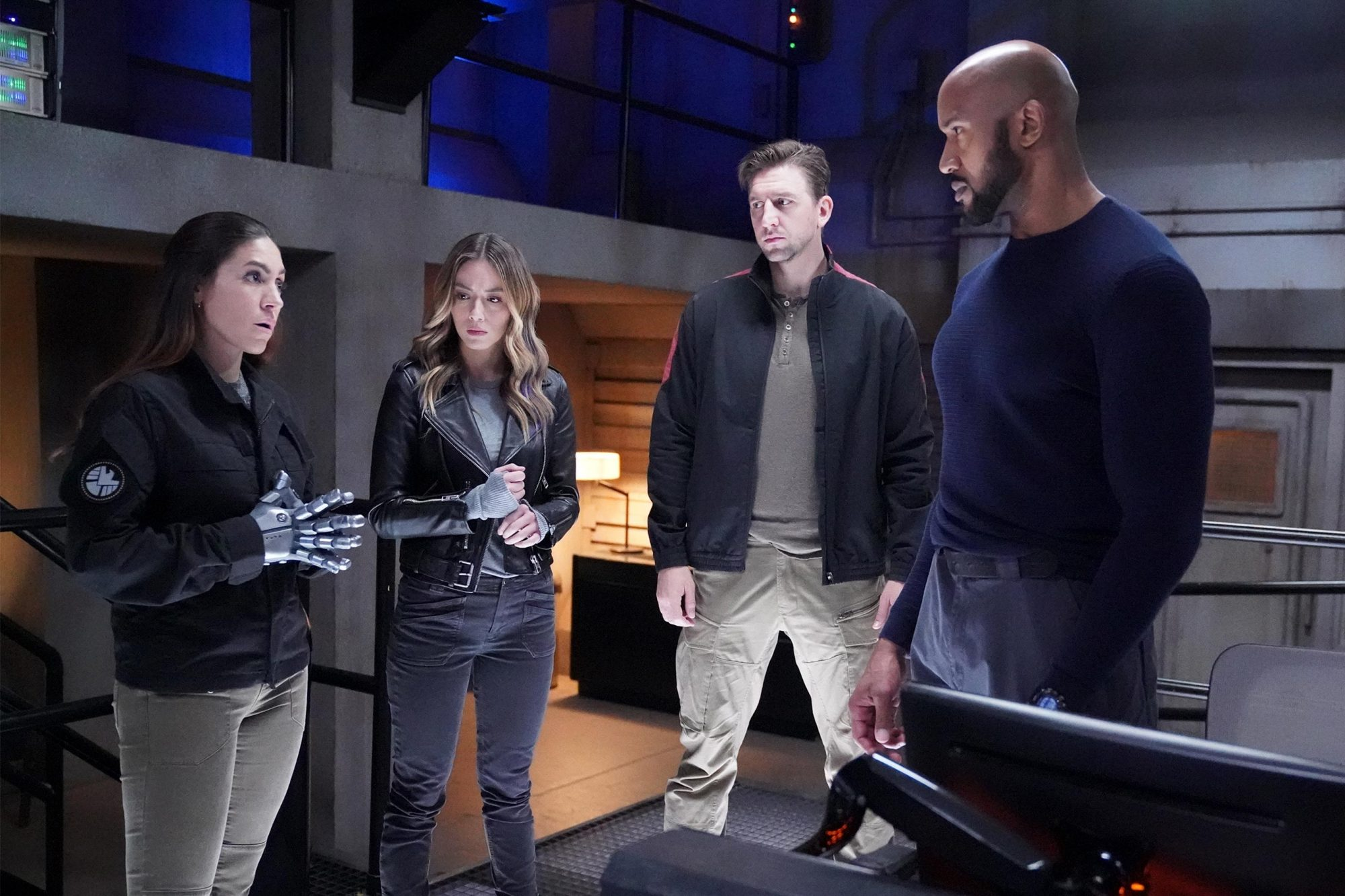 "MARVEL'S AGENTS OF S.H.I.E.L.D. - ""Leap"" - The party's over, and now the team must trust each other in order to face impending doom and an enemy that's closer than they think, on ""Marvel's Agents of S.H.I.E.L.D.,"" airing FRIDAY, JULY 19 (8:00-9:00 p.m. EDT), on ABC. (ABC/Mitch Haaseth) NATALIA CORDOVA-BUCKLEY, CHLOE BENNET, MAX OSINSKI, HENRY SIMMONS"
