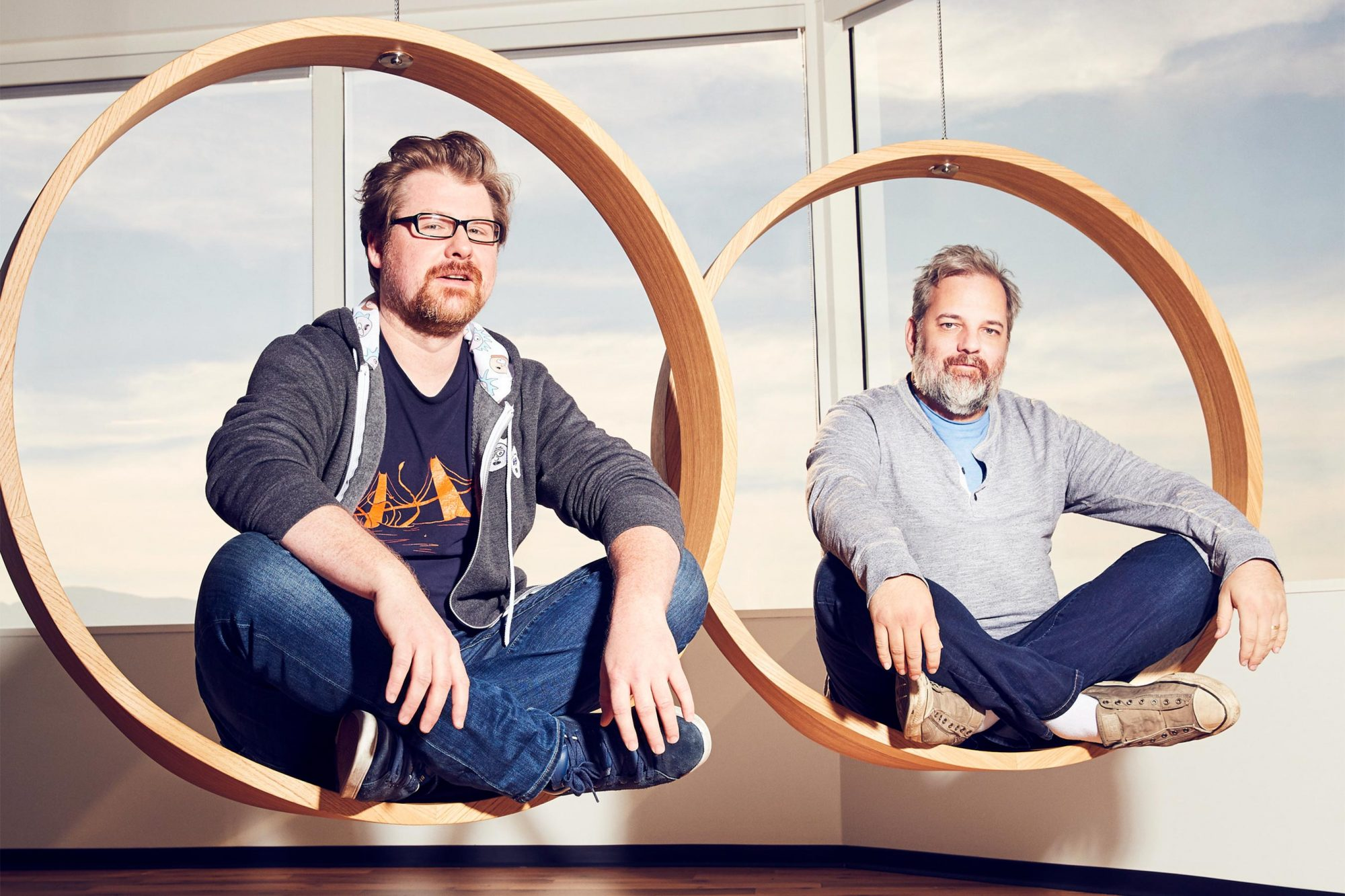 Rick and Morty creators, Justin Roiland and Dan Harmon CR: Adult Swim