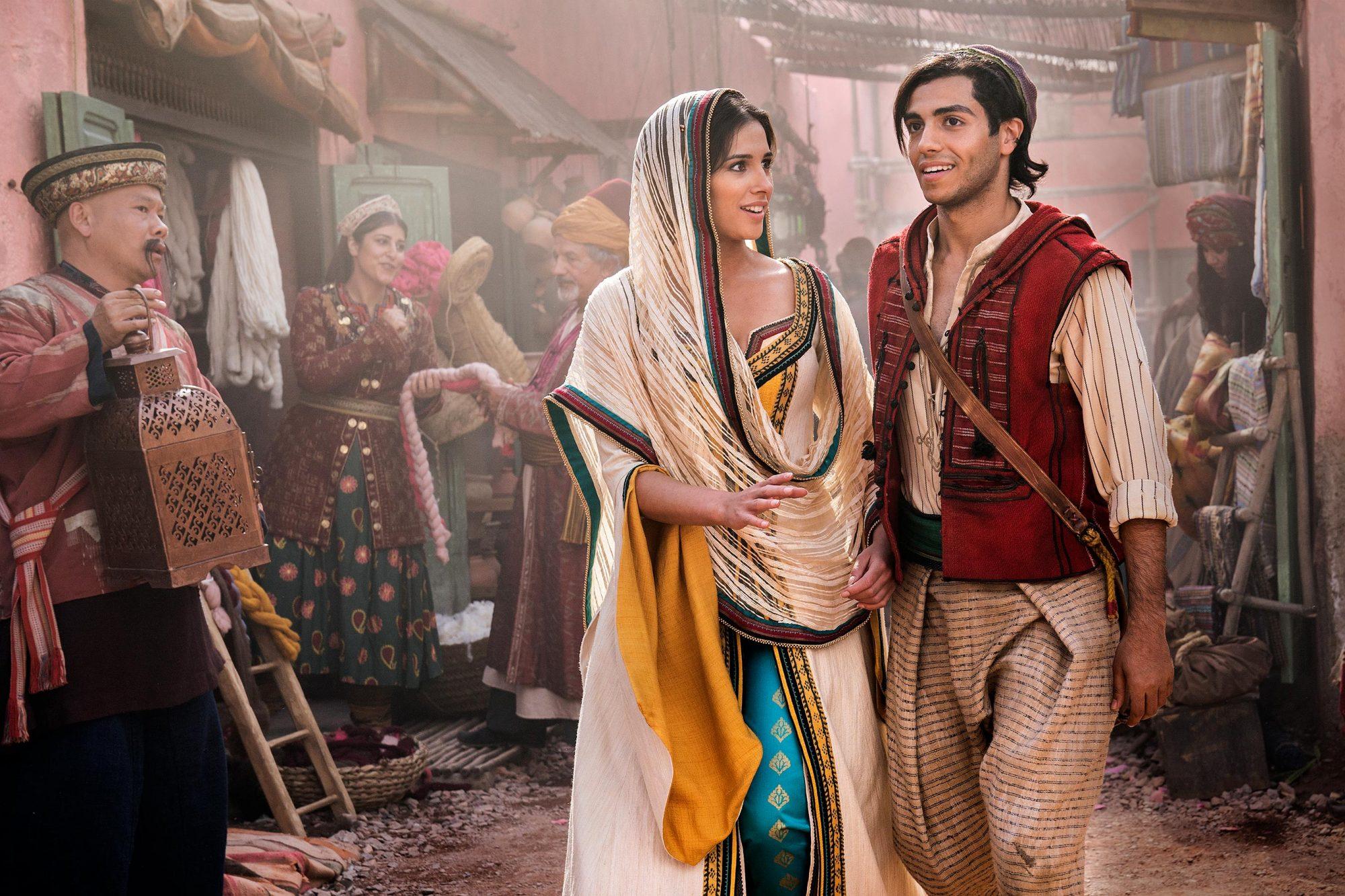 ALADDIN Naomi Scott as Jasmine and Mena Massoud as Aladdin