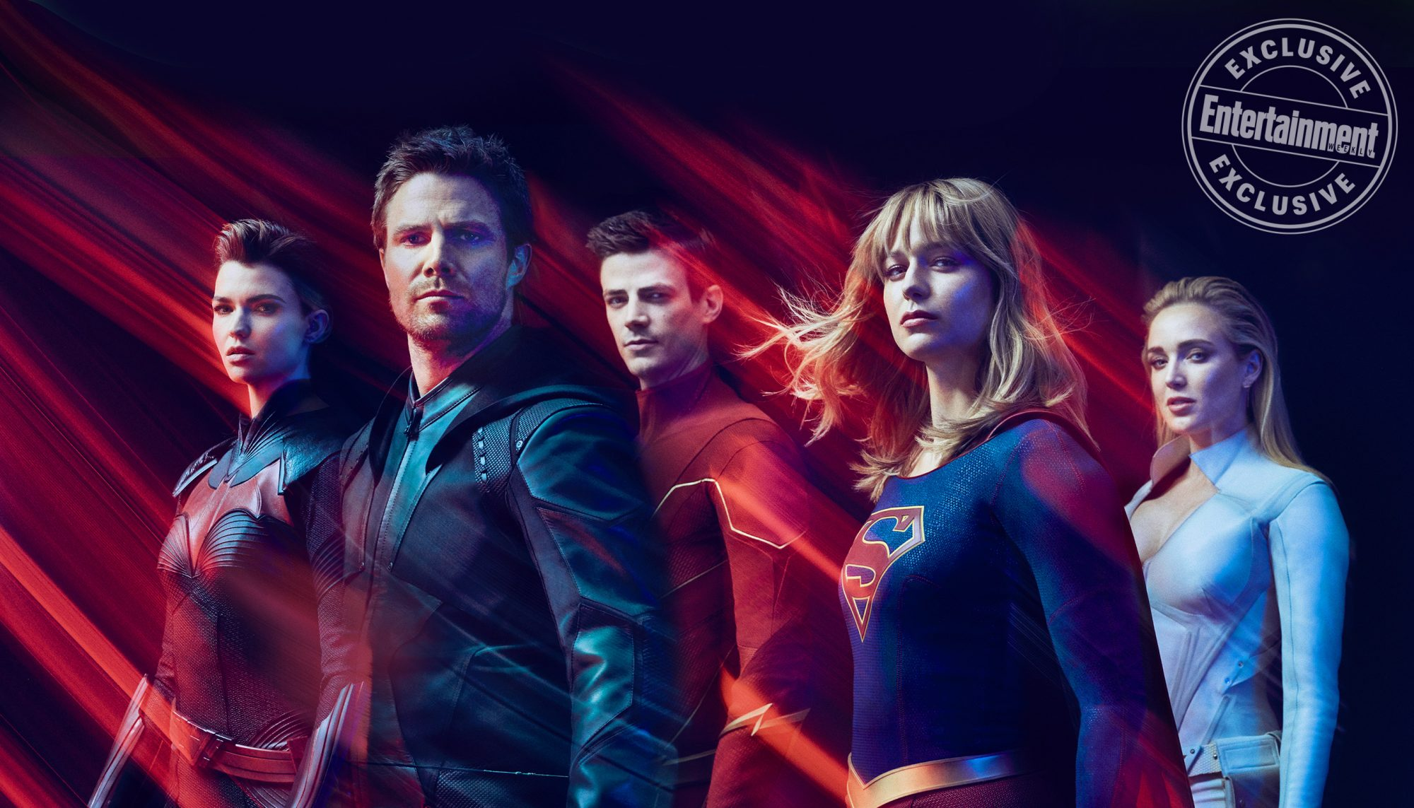 Ruby Rose as Batwoman, Stephen Amell as Green Arrow, Grant Gustin as The Flash, Melissa Benoist as Supergirl, and Caity Lotz as White Canary