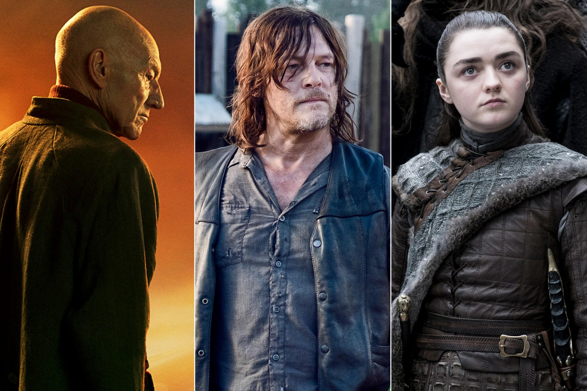 STAR TREK: PICARD -- Key Art Photo Cr: James Dimmock/CBS ©2019 CBS Interactive, Inc. All Rights Reserved. Norman Reedus as Daryl Dixon- The Walking Dead _ Season 9, Episode 11 - Photo Credit: Gene Page/AMC Game of Thrones Season 8, Episode 1 Maisie Williams as Arya Stark Photo: Helen Sloan/HBO