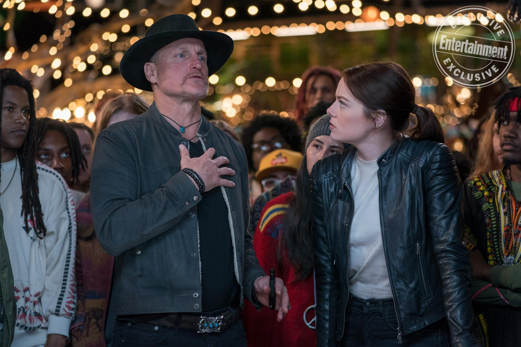 Tallahassee (Woody Harrelson) and Wichita (Emma Stone) in Columbia Pictures' ZOMBIELAND 2: DOUBLE TAP.