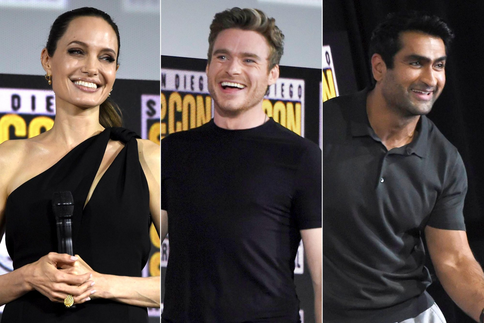 Mandatory Credit: Photo by Chris Pizzello/Invision/AP/Shutterstock (10342690d) Angelina Jolie attends the Marvel Studios panel on day three of Comic-Con International, in San Diego 2019 Comic-Con - Marvel Studios, San Diego, USA - 20 Jul 2019 Mandatory Credit: Photo by Chris Pizzello/Invision/AP/Shutterstock (10342690f) Richard Madden walks on stage at the Marvel Studios panel on day three of Comic-Con International, in San Diego 2019 Comic-Con - Marvel Studios, San Diego, USA - 20 Jul 2019 Mandatory Credit: Photo by Chris Pizzello/Invision/AP/Shutterstock (10342690e) Kumail Nanjiani greets fans at the Marvel Studios panel on day three of Comic-Con International, in San Diego 2019 Comic-Con - Marvel Studios, San Diego, USA - 20 Jul 2019