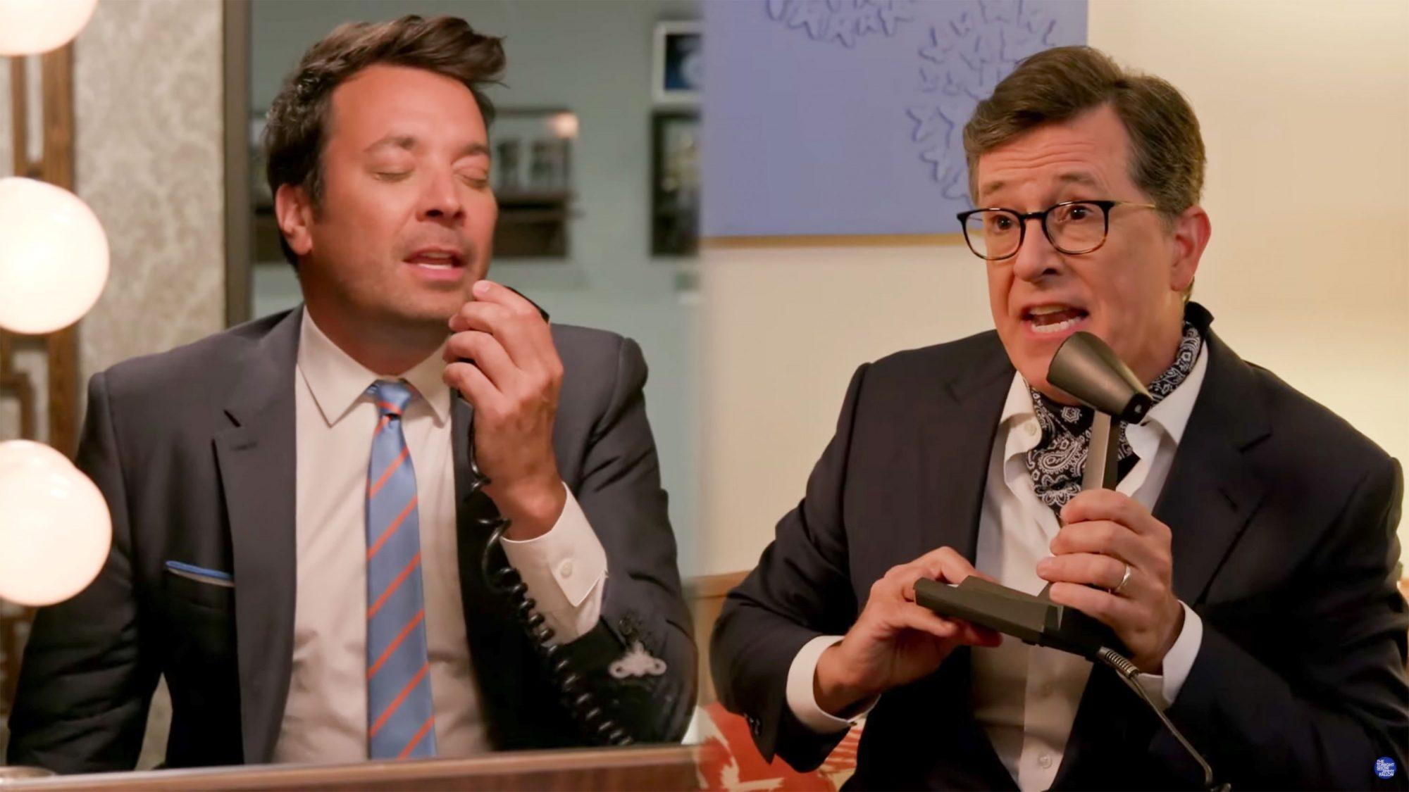 """Jimmy Fallon and Stephen Colbert Recreate the Stranger Things """"NeverEnding Story"""" Duet"""