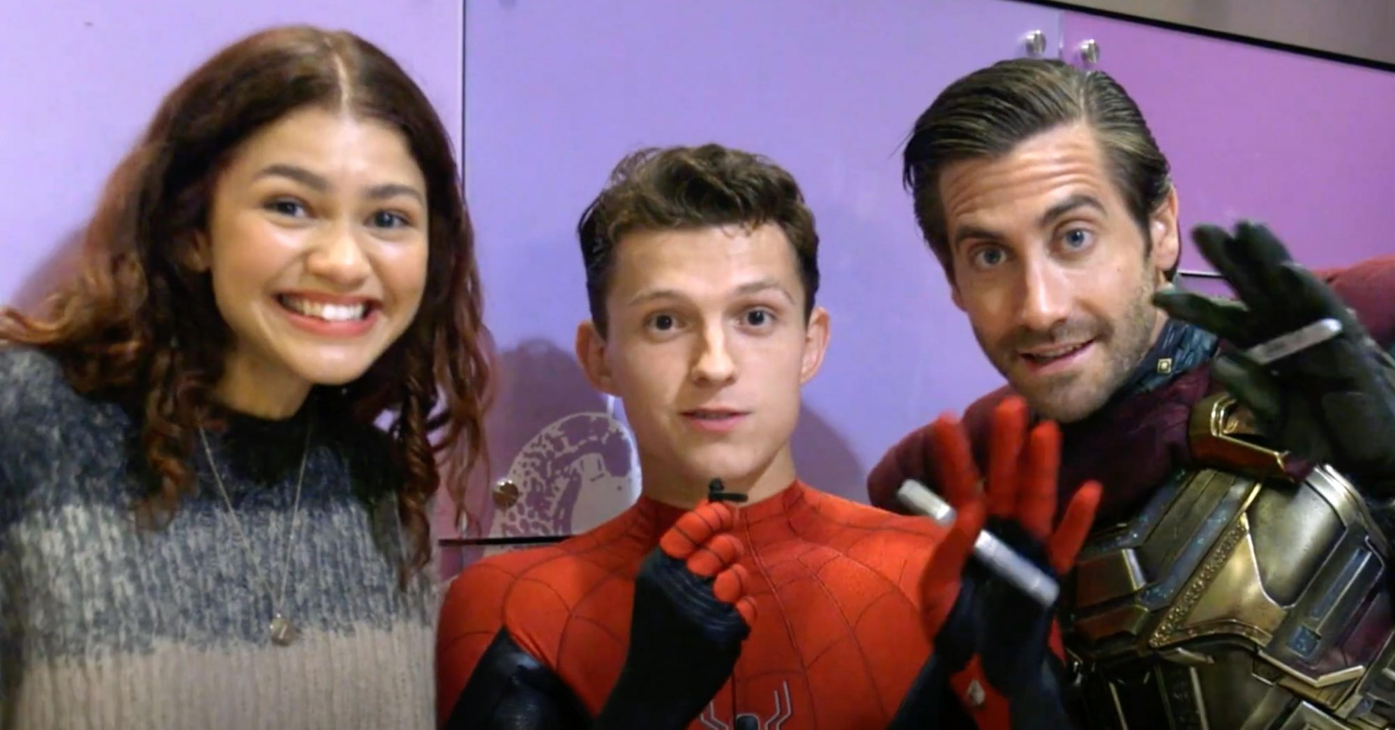 Spider-Man Cast Tom Holland, Zendaya, Jake Gyllenhaal Surprises Kids at Children's Hospital LA (screen grab)