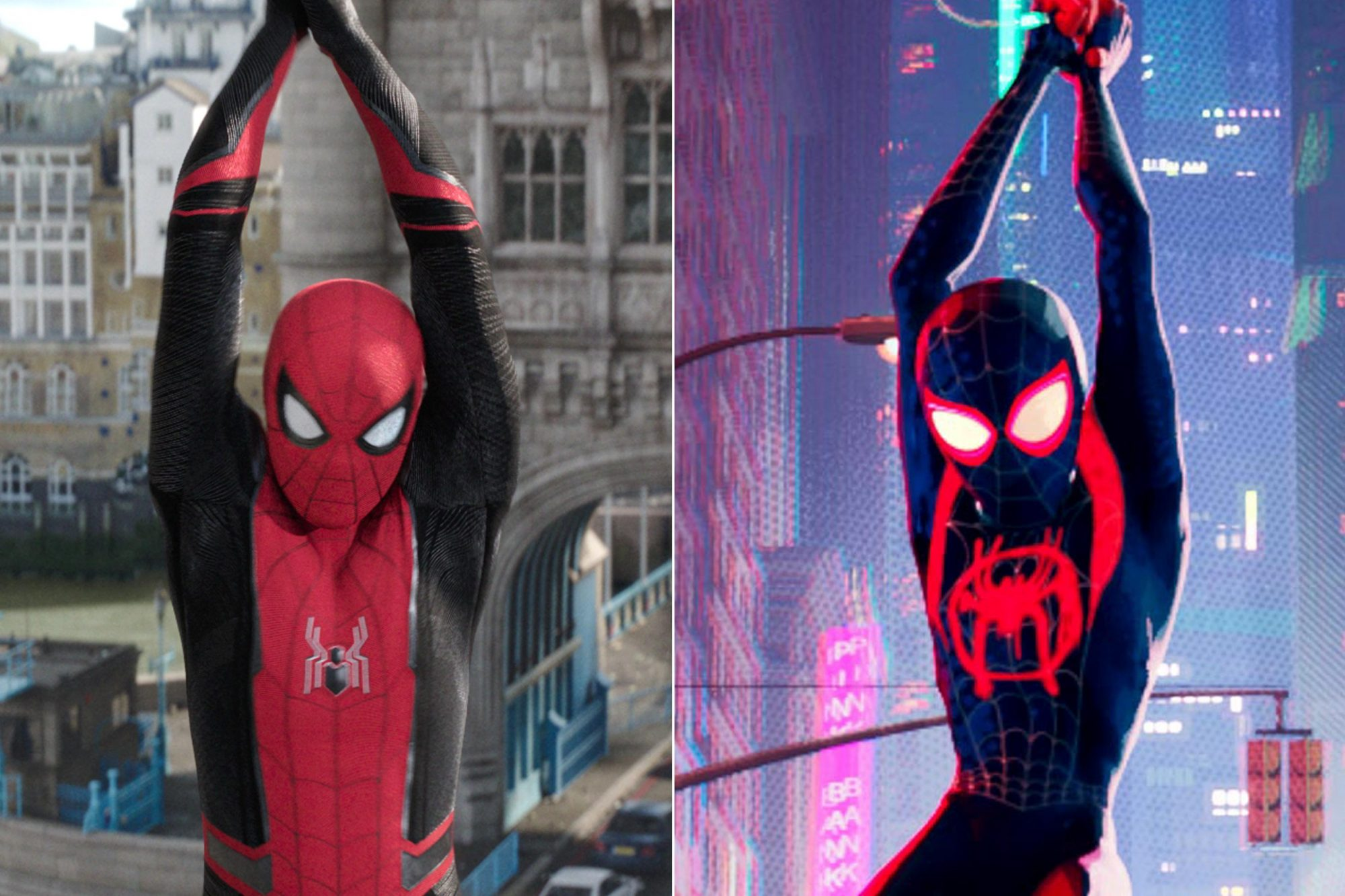 Spider-Man in Columbia Pictures' SPIDER-MAN: ™ FAR FROM HOME Miles Morales (Shameik Moore) Columbia Pictures and Sony Pictures Animation's SPIDER-MAN: INTO THE SPIDER-VERSE.
