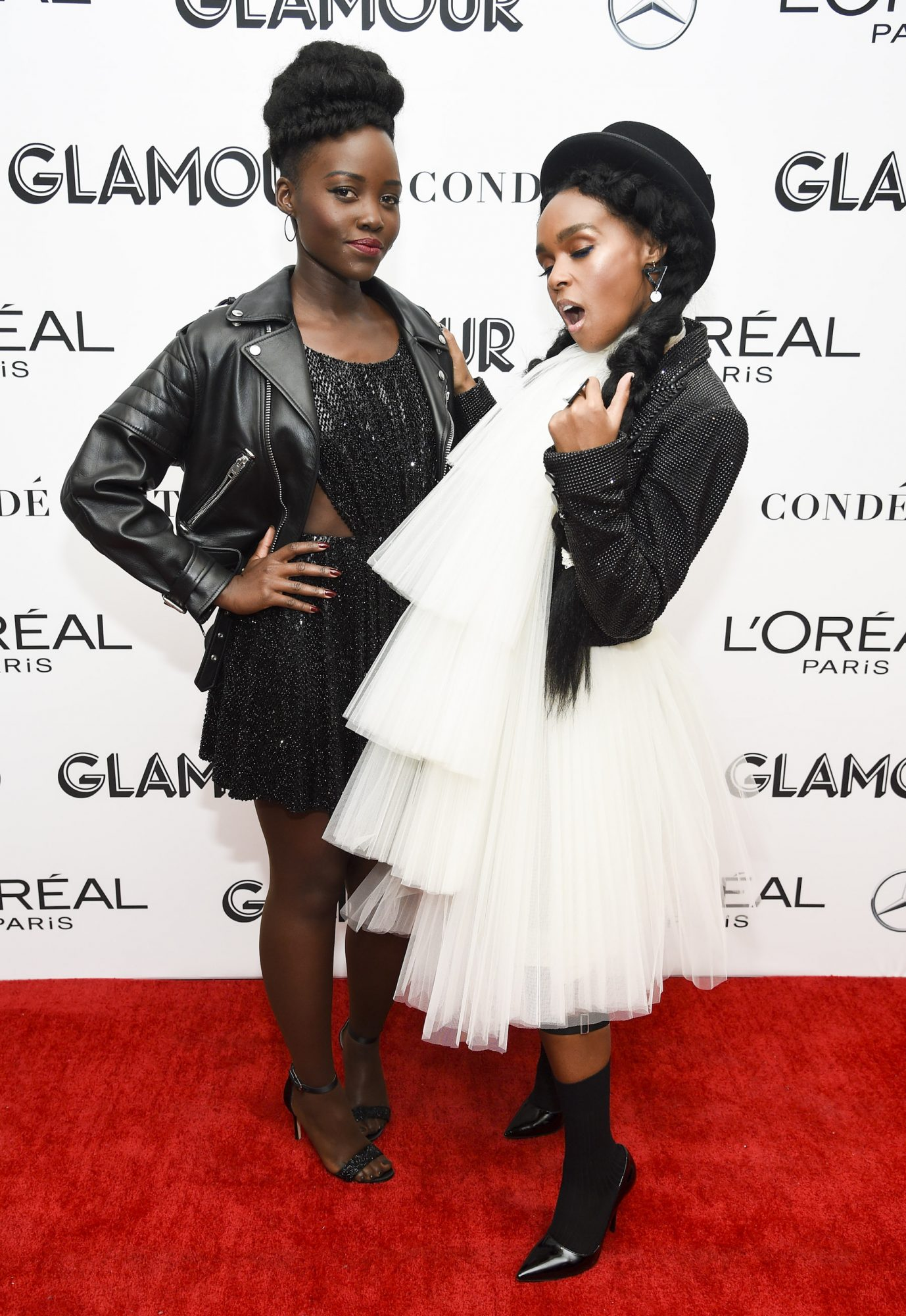 NEW YORK, NY - NOVEMBER 12: Lupita Nyong?o and Janelle Monae pose backstage at the 2018 Glamour Women Of The Year Awards: Women Rise on November 12, 2018 in New York City. (Photo by Dimitrios Kambouris/Getty Images for Glamour)