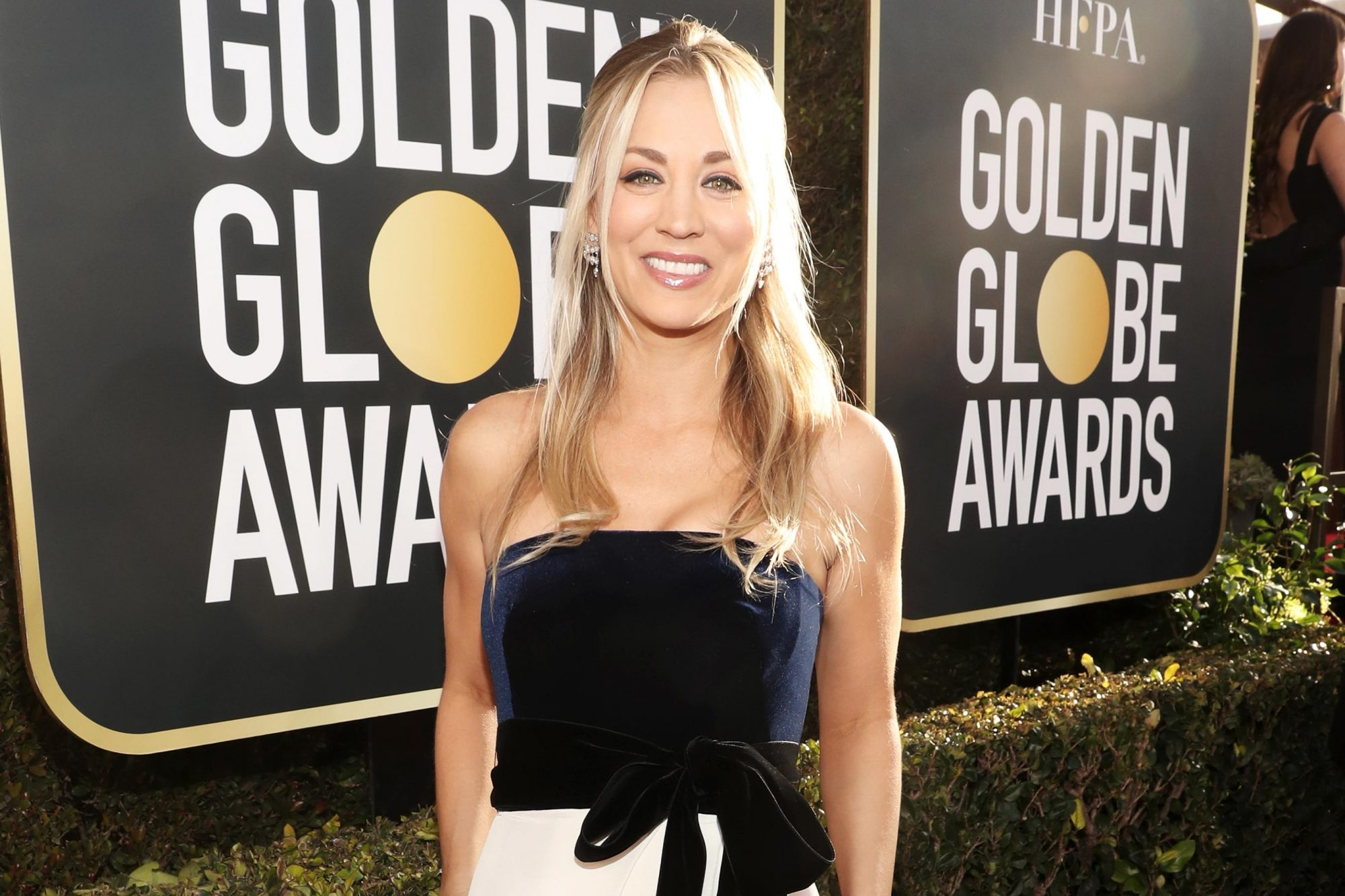 BEVERLY HILLS, CA - JANUARY 06: 76th ANNUAL GOLDEN GLOBE AWARDS -- Pictured: Kaley Cuoco arrive to the 76th Annual Golden Globe Awards held at the Beverly Hilton Hotel on January 6, 2019. -- (Photo by Todd Williamson/NBC/NBCU Photo Bank)