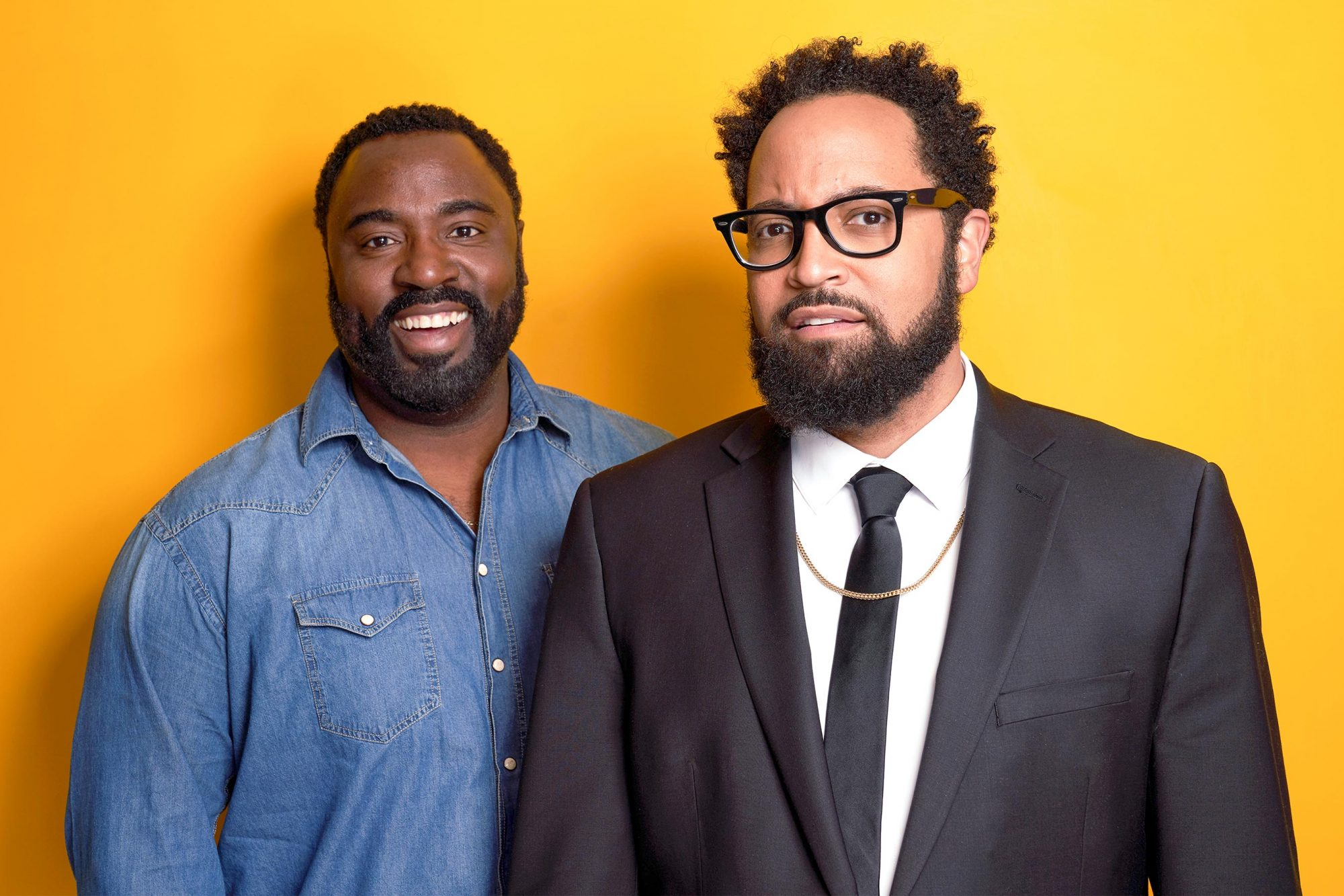 PASADENA, CALIFORNIA - FEBRUARY 11: Bashir Salahuddin (L) and Diallo Riddle of Comedy Central's 'South Side' pose for a portrait during the 2019 Winter TCA at The Langham Huntington, Pasadena on February 11, 2019 in Pasadena, California. (Photo by Corey Nickols/Getty Images)