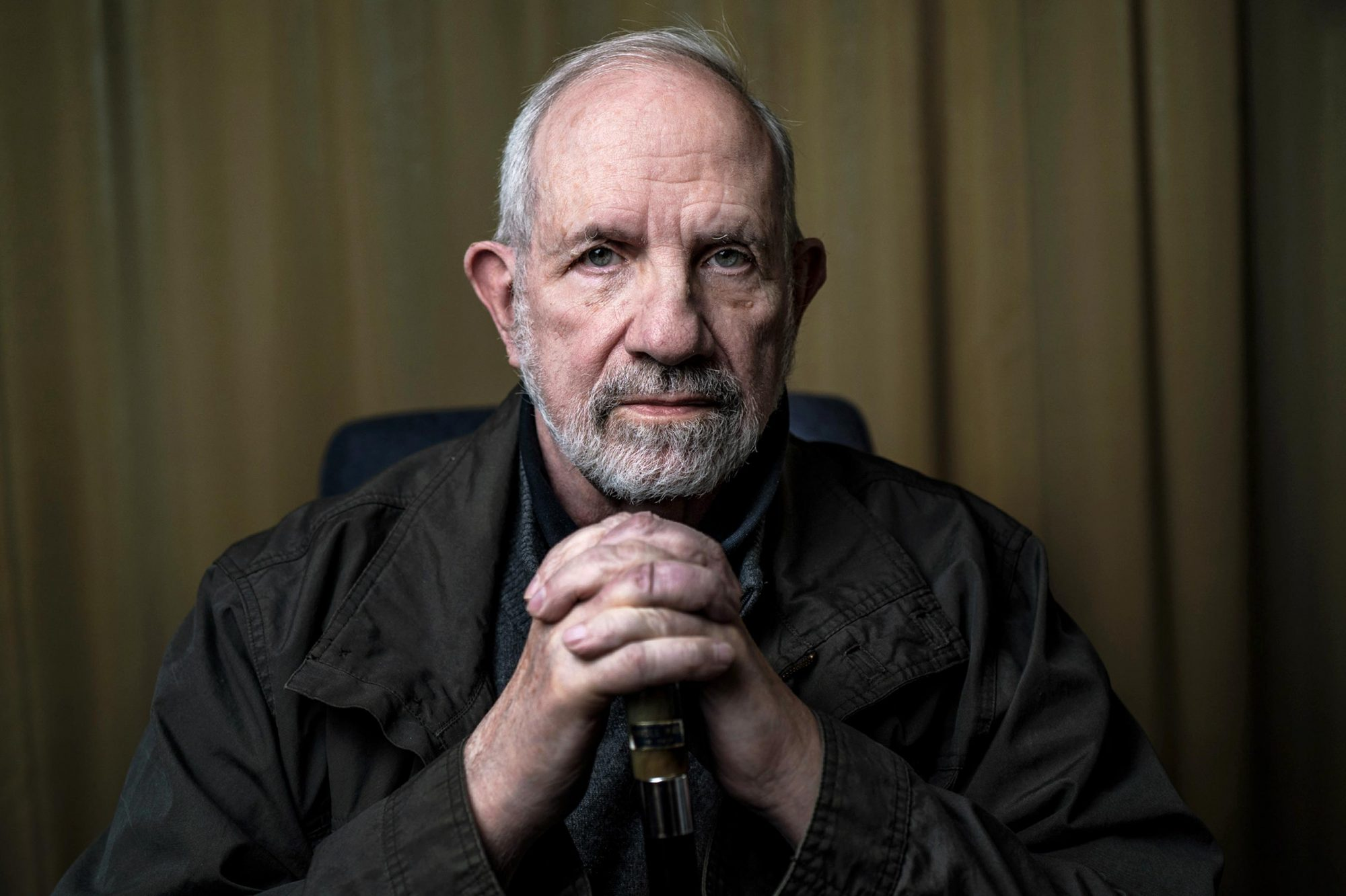 TOPSHOT - American film director, screenwriter and writer Brian De Palma poses on March 29, 2019 in Lyon. (Photo by JEFF PACHOUD / AFP) (Photo credit should read JEFF PACHOUD/AFP/Getty Images)