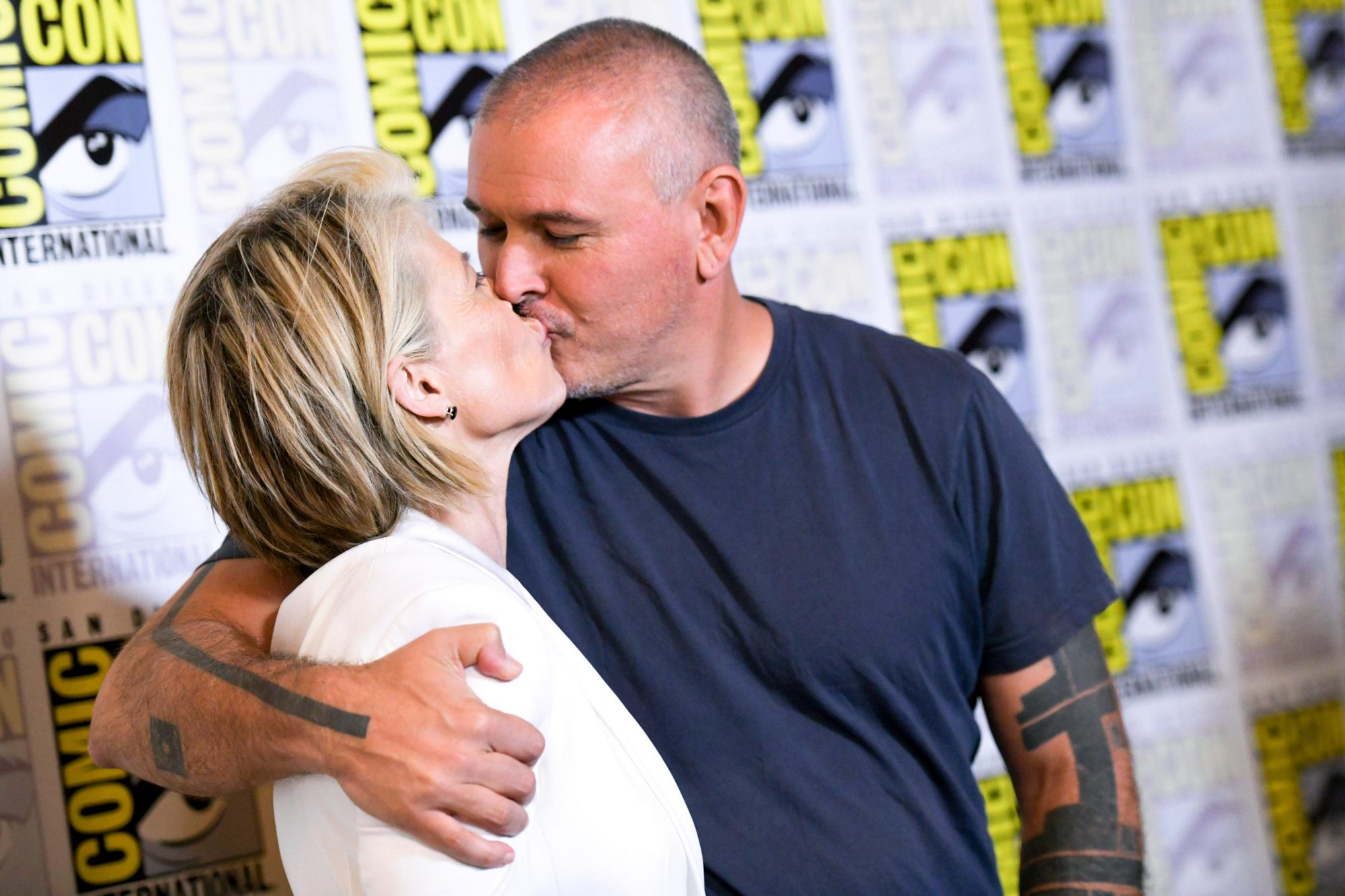 Actress Linda Hamilton and director Tim Miller arrive for the Terminator: Dark Fate red carpet event at the Hilton Bayfront during Comic Con in San Diego, California on July 18, 2019. (Photo by Chris Delmas / AFP) (Photo credit should read CHRIS DELMAS/AFP/Getty Images)