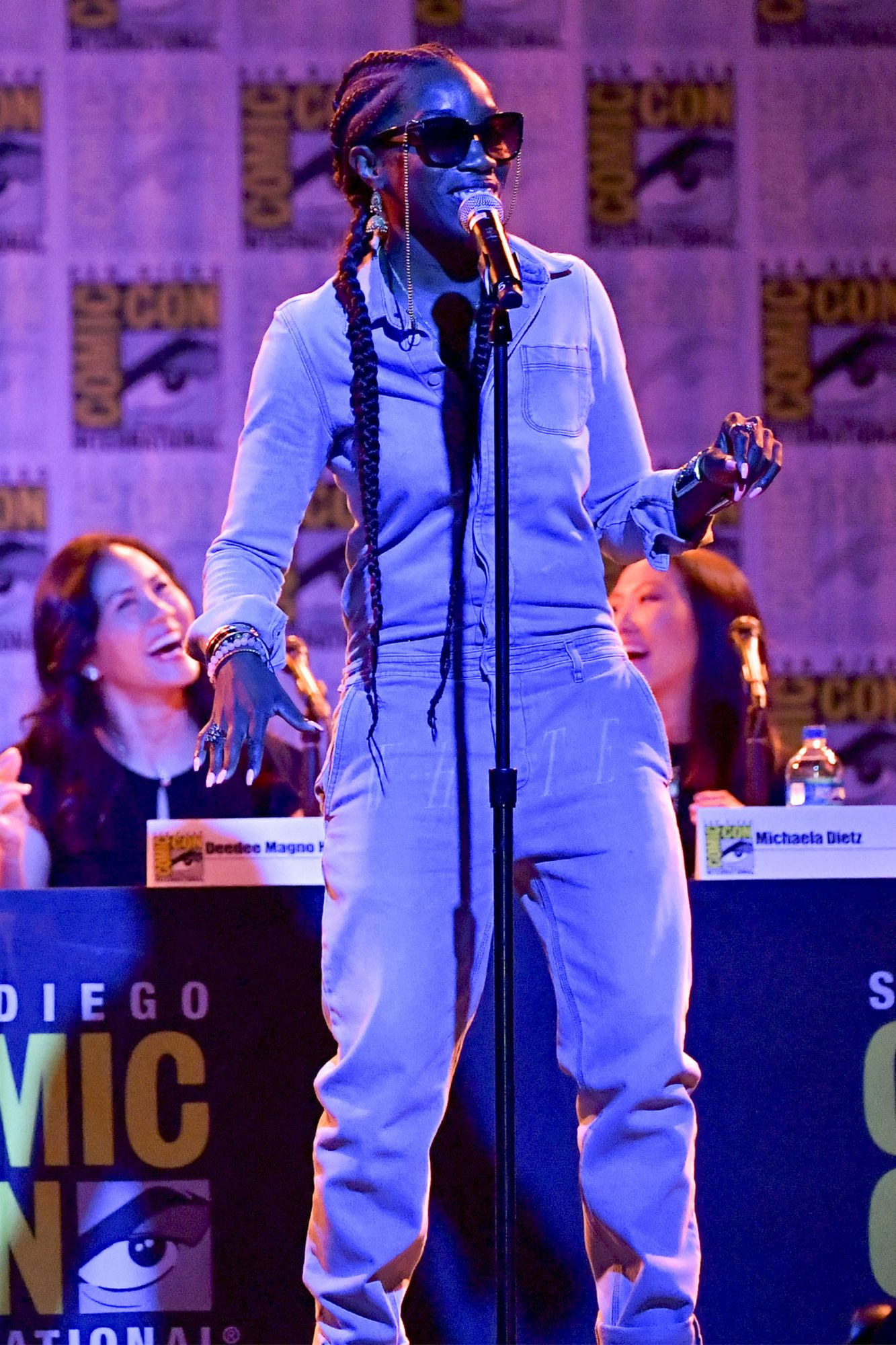 """SAN DIEGO, CALIFORNIA - JULY 19: Rebecca Sugar and Estelle speak at the """"Steven Universe"""" Panel during 2019 Comic-Con International at San Diego Convention Center on July 19, 2019 in San Diego, California. (Photo by Amy Sussman/Getty Images)"""