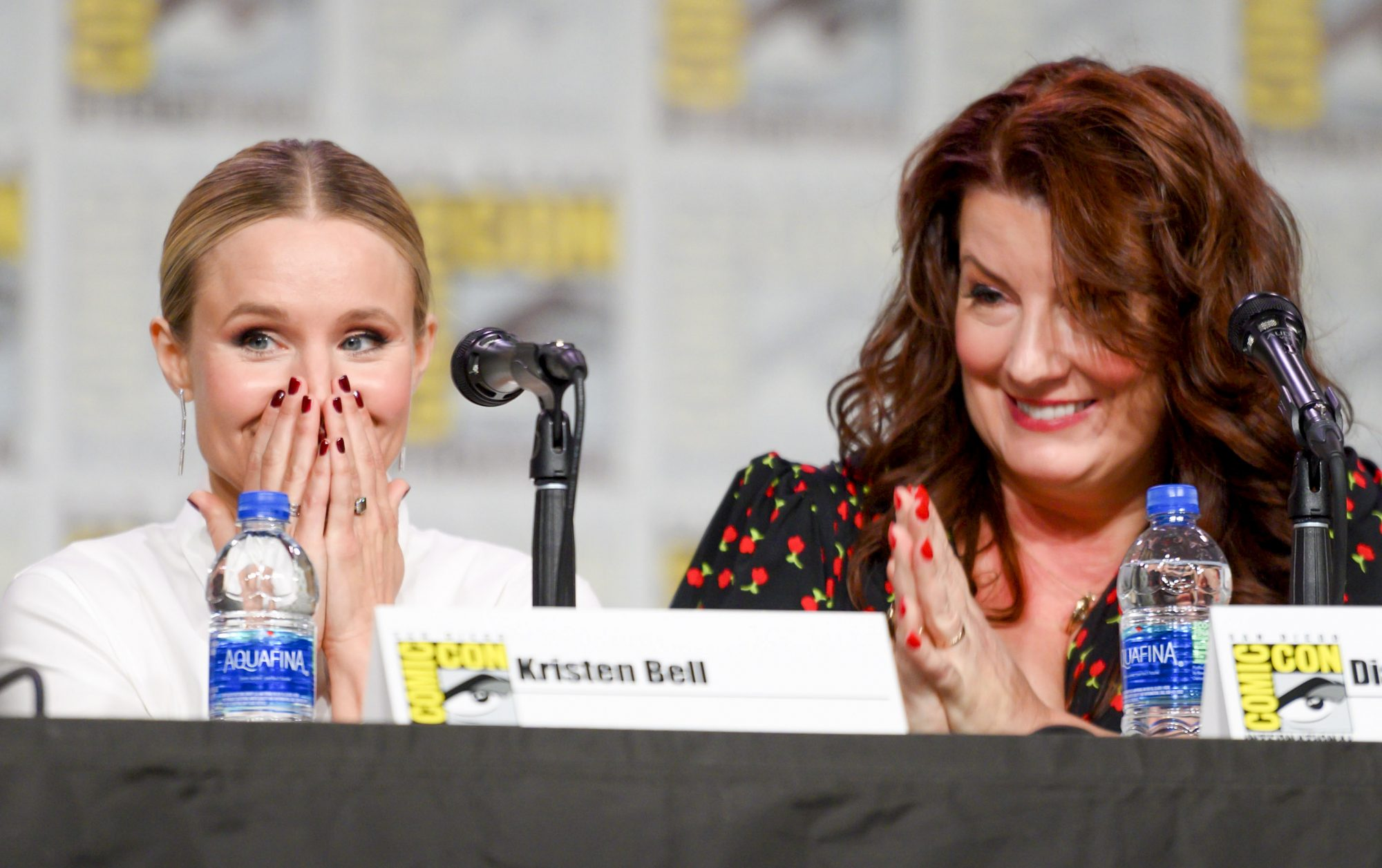 """SAN DIEGO, CALIFORNIA - JULY 19: Kristen Bell and Diane-Ruggiero Wright attend Hulu's """"Veronica Mars"""" revival panel and world premiere during 2019 Comic-Con International at San Diego Convention Center on July 19, 2019 in San Diego, California. (Photo by Daniel Boczarski/Getty Images for Hulu)"""