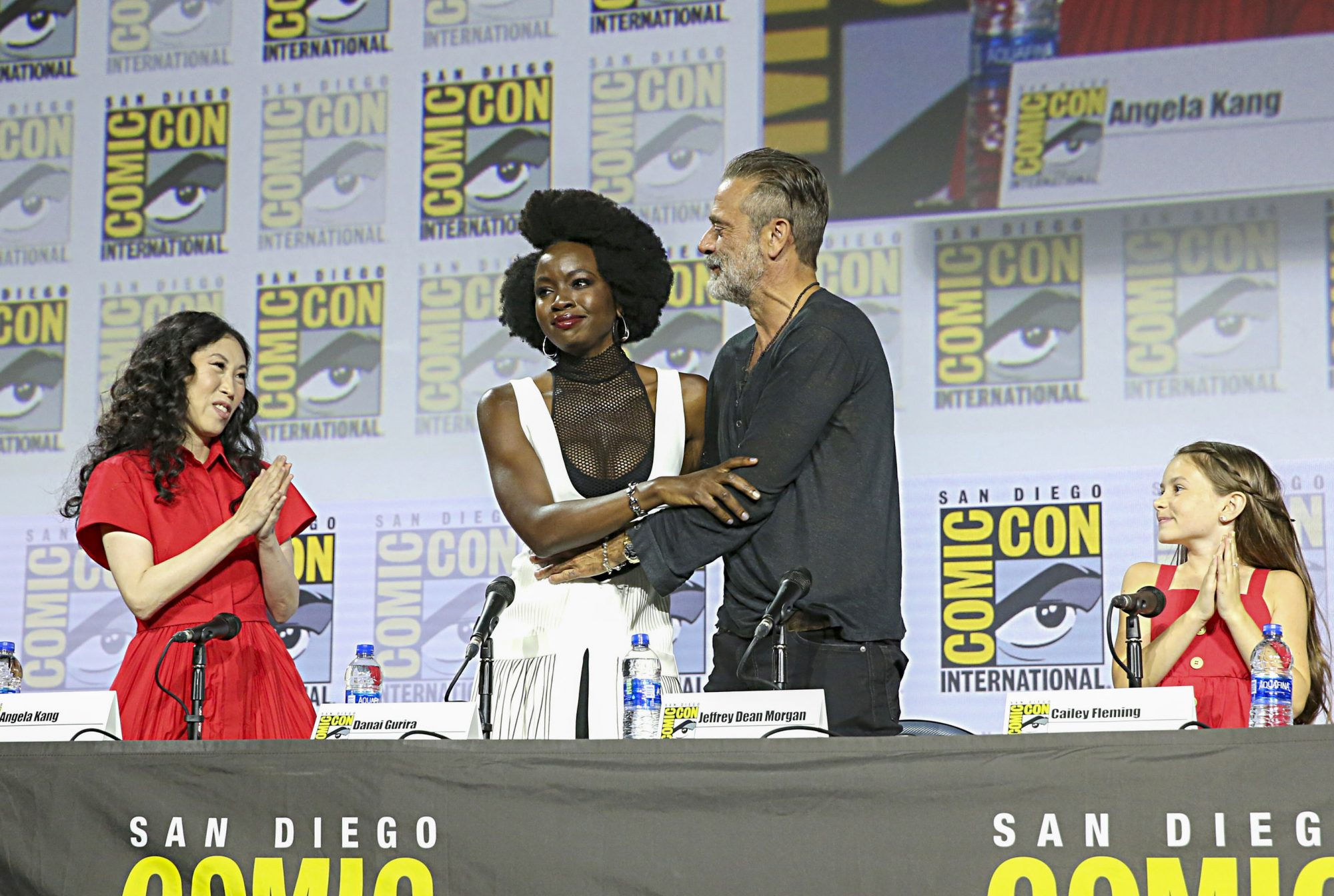 SAN DIEGO, CALIFORNIA - JULY 19: (L-R) Angela Kang, Danai Gurira, Jeffrey Dean Morgan and Cailey Fleming attend The Walking Dead Panel at Comic Con 2019 on July 19, 2019 in San Diego, California. (Photo by Jesse Grant/Getty Images for AMC)