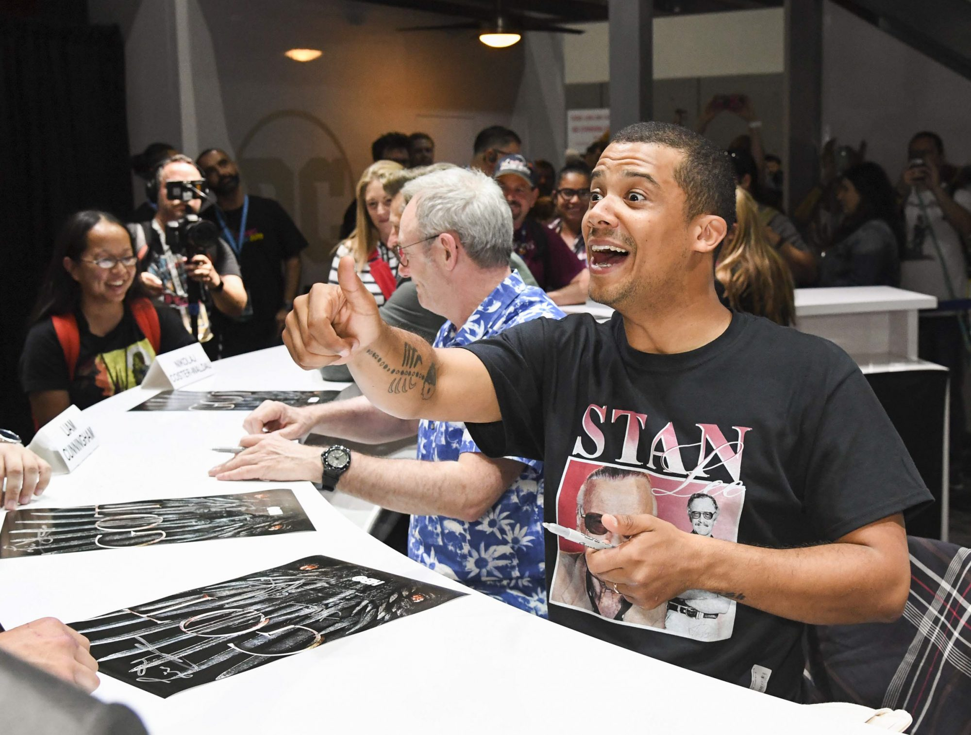 """SAN DIEGO, CALIFORNIA - JULY 19: Jacob Anderson at """"Game Of Thrones"""" Comic Con Autograph Signing 2019 on July 19, 2019 in San Diego, California. (Photo by Jeff Kravitz/FilmMagic for HBO)"""