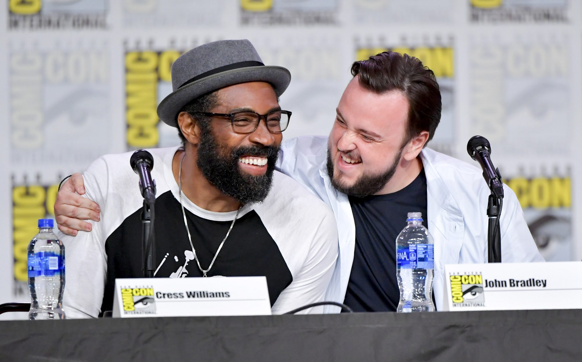 SAN DIEGO, CALIFORNIA - JULY 19: Cress Williams and Joh Bradley speak onstage during Entertainment Weekly: Brave Warriors at San Diego Convention Center on July 19, 2019 in San Diego, California. (Photo by Amy Sussman/Getty Images)