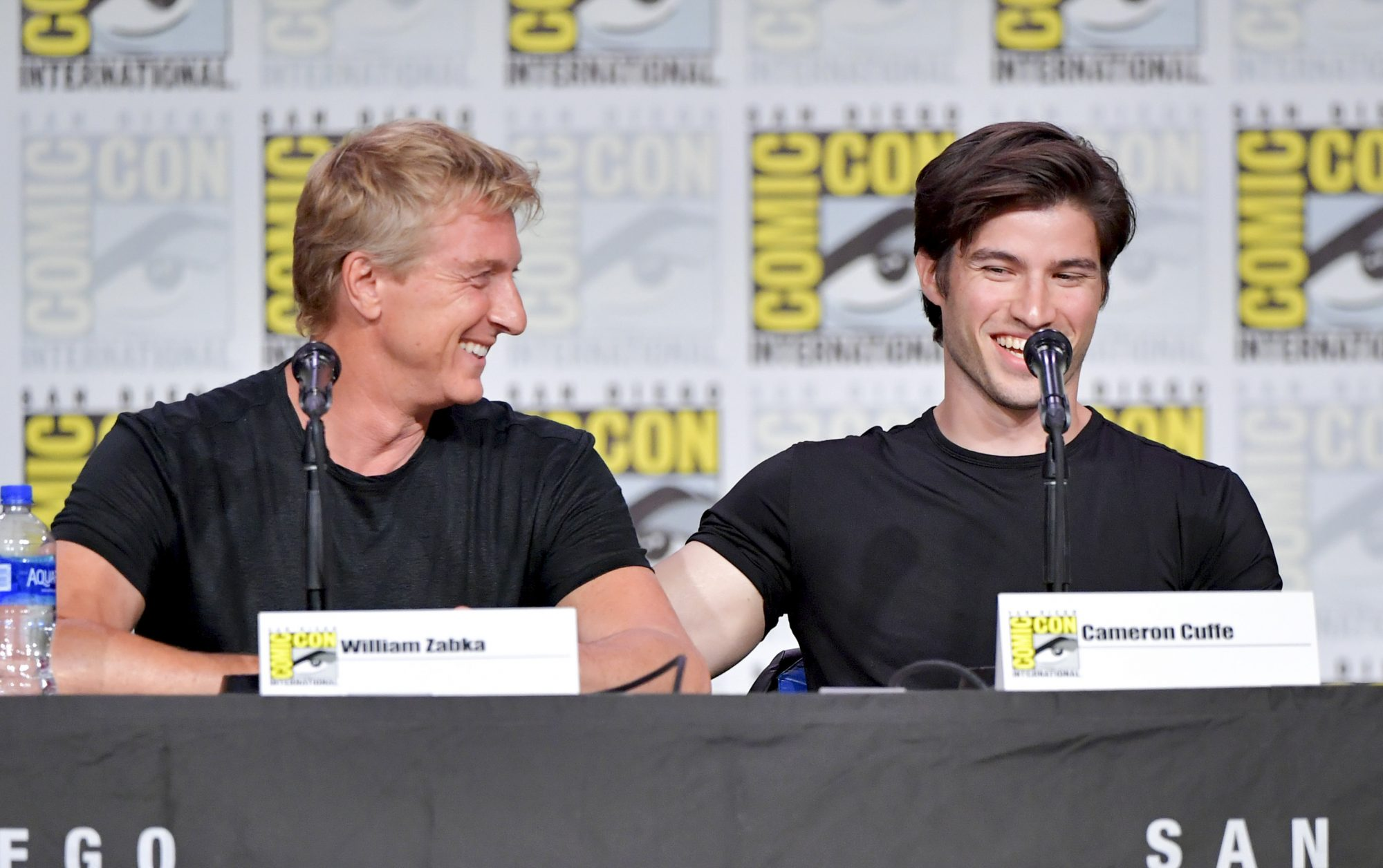 SAN DIEGO, CALIFORNIA - JULY 19: William Zabka and Cameron Cuffe speaks onstage during Entertainment Weekly: Brave Warriors at San Diego Convention Center on July 19, 2019 in San Diego, California. (Photo by Amy Sussman/Getty Images)