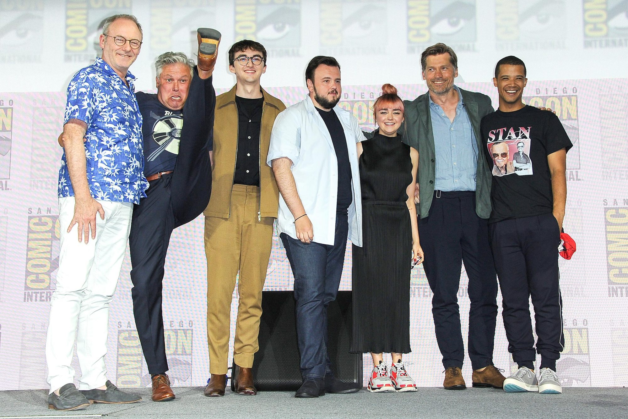 "SAN DIEGO, CALIFORNIA - JULY 19: (L-R) Liam Cunningham, Conleth Hill, Isaac Hempstead Wright, John Bradley, Maisie Williams, Nikolaj Coster-Waldau and Jacob Anderson speak at the ""Game Of Thrones"" Panel And Q&A during 2019 Comic-Con International at San Diego Convention Center on July 19, 2019 in San Diego, California. (Photo by Albert L. Ortega/Getty Images)"