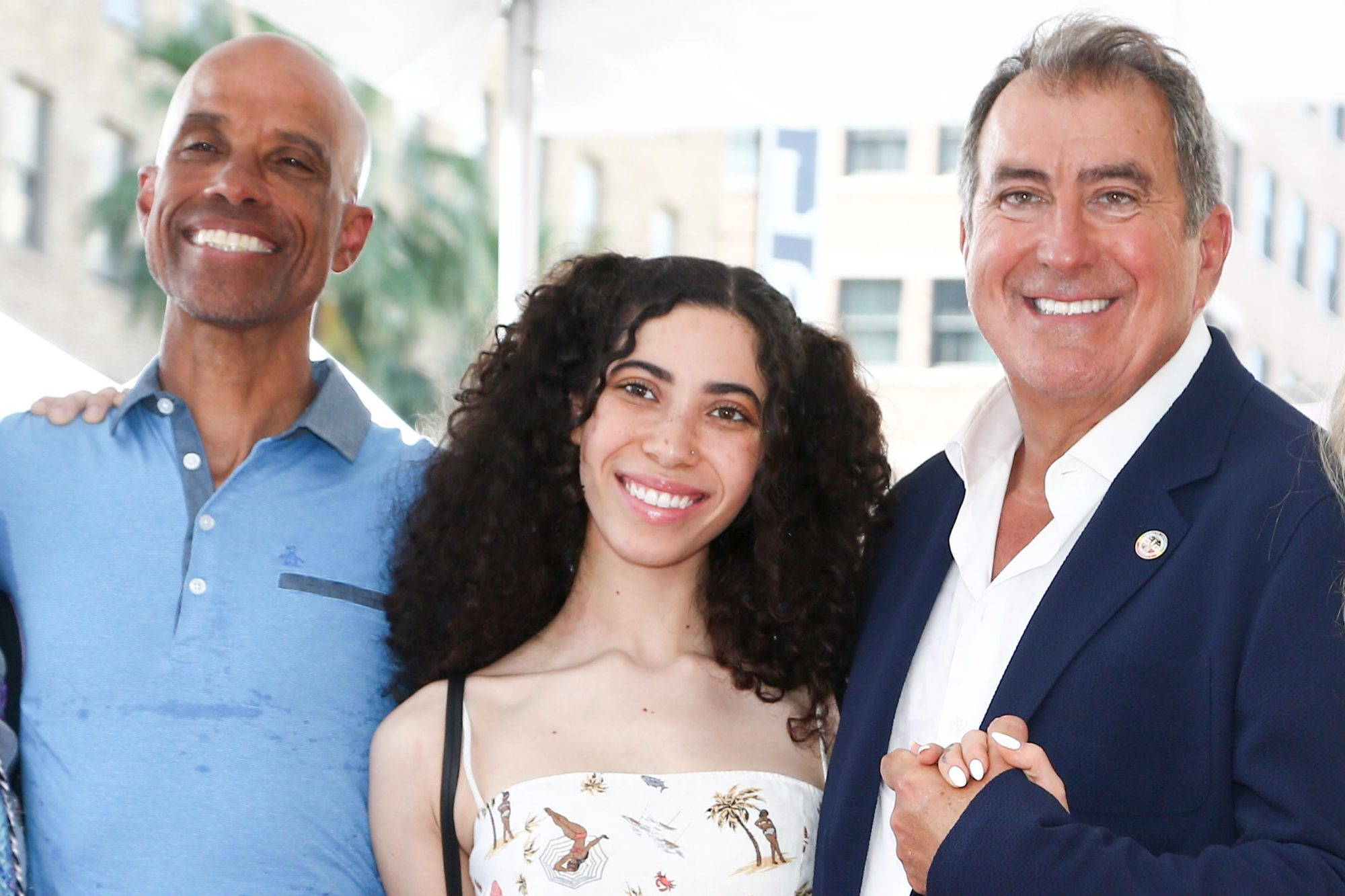 HOLLYWOOD, CALIFORNIA - JULY 24: Victor Boyce, Maya Boyce and Kenny Ortega attend a ceremony honoring Kenny Ortega with a star on The Hollywood Walk of Fame on July 24, 2019 in Hollywood, California. (Photo by Tommaso Boddi/WireImage)
