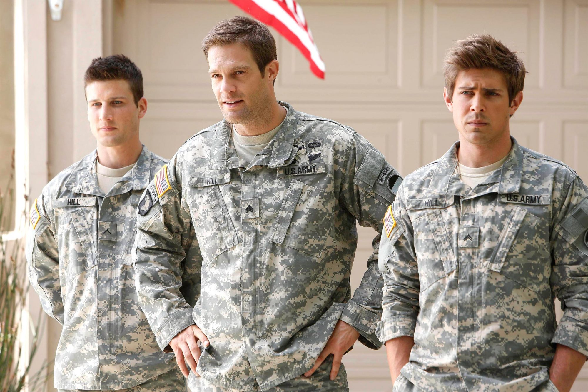 ENLISTED: Geoff Stults (C), Chris Lowell (R) and Parker Young (L), star in the irreverent and heartfelt single-camera comedy ENLISTED premiering late fall on FOX. (Photo by FOX via Getty Images)