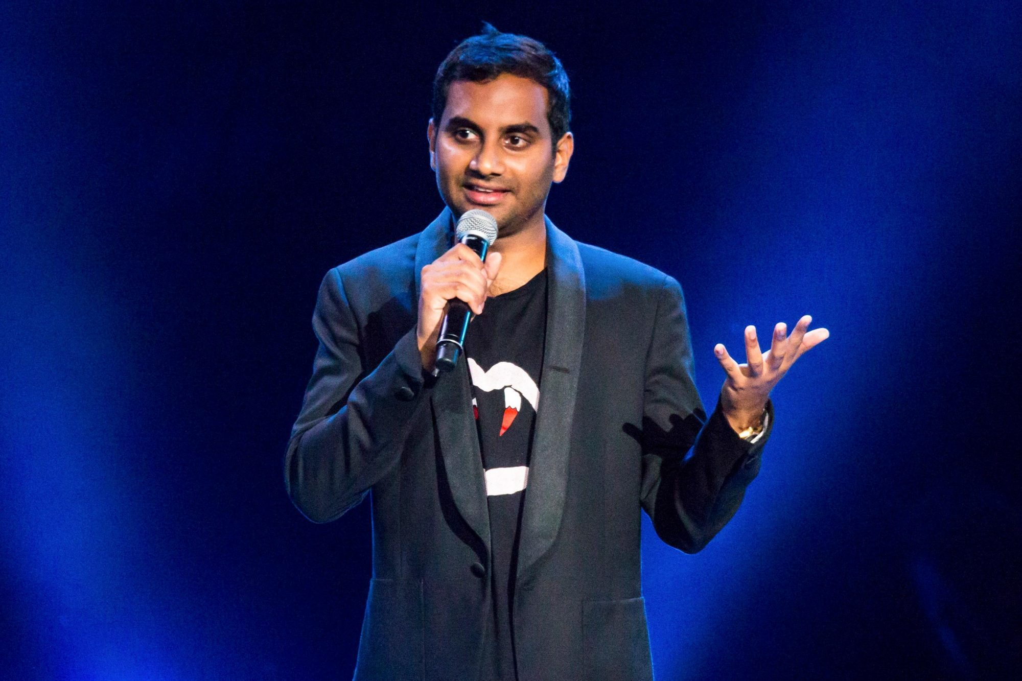 CLARKSTON, MI - AUGUST 30: Comedian Aziz Ansari performs during the Oddball Comedy And Curiosity Festival at DTE Energy Music Theater on August 30, 2015 in Clarkston, Michigan. (Photo by Scott Legato/Getty Images)