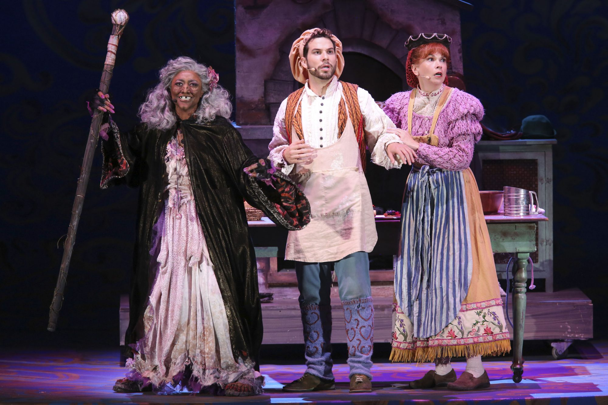 Hollywood Bowl Presents Into The Woods 2019 -- Pictured: Patina Miller as The Witch, Skylar Astin as The Baker, Sutton Foster as The Baker's Wife Photos by Craig T. Mathew and Greg Grudt/Mathew Imaging If these photos will be used on Social Media, please be sure to tag the following: @mathewimaging