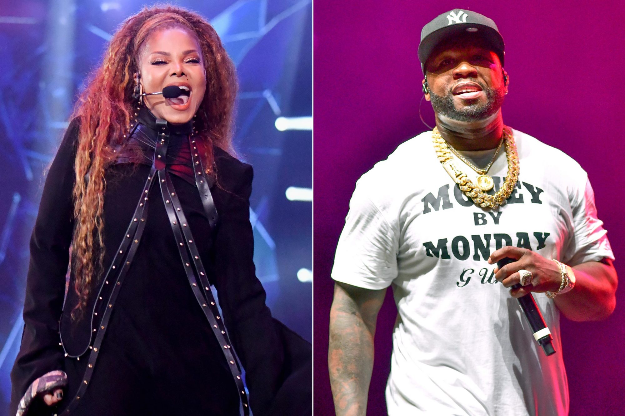 BILBAO, SPAIN - NOVEMBER 04: Janet Jackson performs on stage during the MTV EMAs 2018 on November 4, 2018 in Bilbao, Spain. (Photo by Jeff Kravitz/FilmMagic) ATLANTA, GA - JUNE 08: 50 Cent performs at 2019 Tycoon Music Festival at Cellairis Amphitheatre at Lakewood on June 8, 2019 in Atlanta, Georgia.(Photo by Prince Williams/Wireimage)