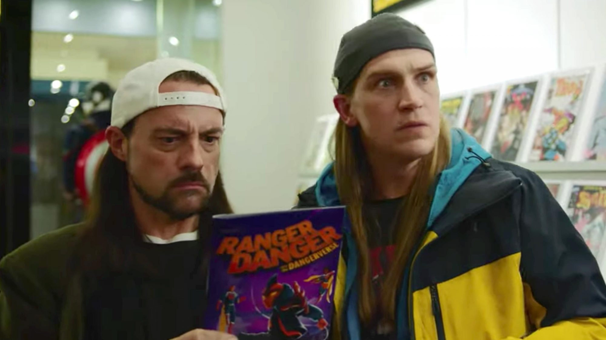 Jay and Silent Bob Reboot Official Trailer (2019) - Kevin Smith, Jason Mewes (screen grab) https://www.youtube.com/watch?v=VHI_TemTawM&amp=&feature=youtu.be CR: Saban Films