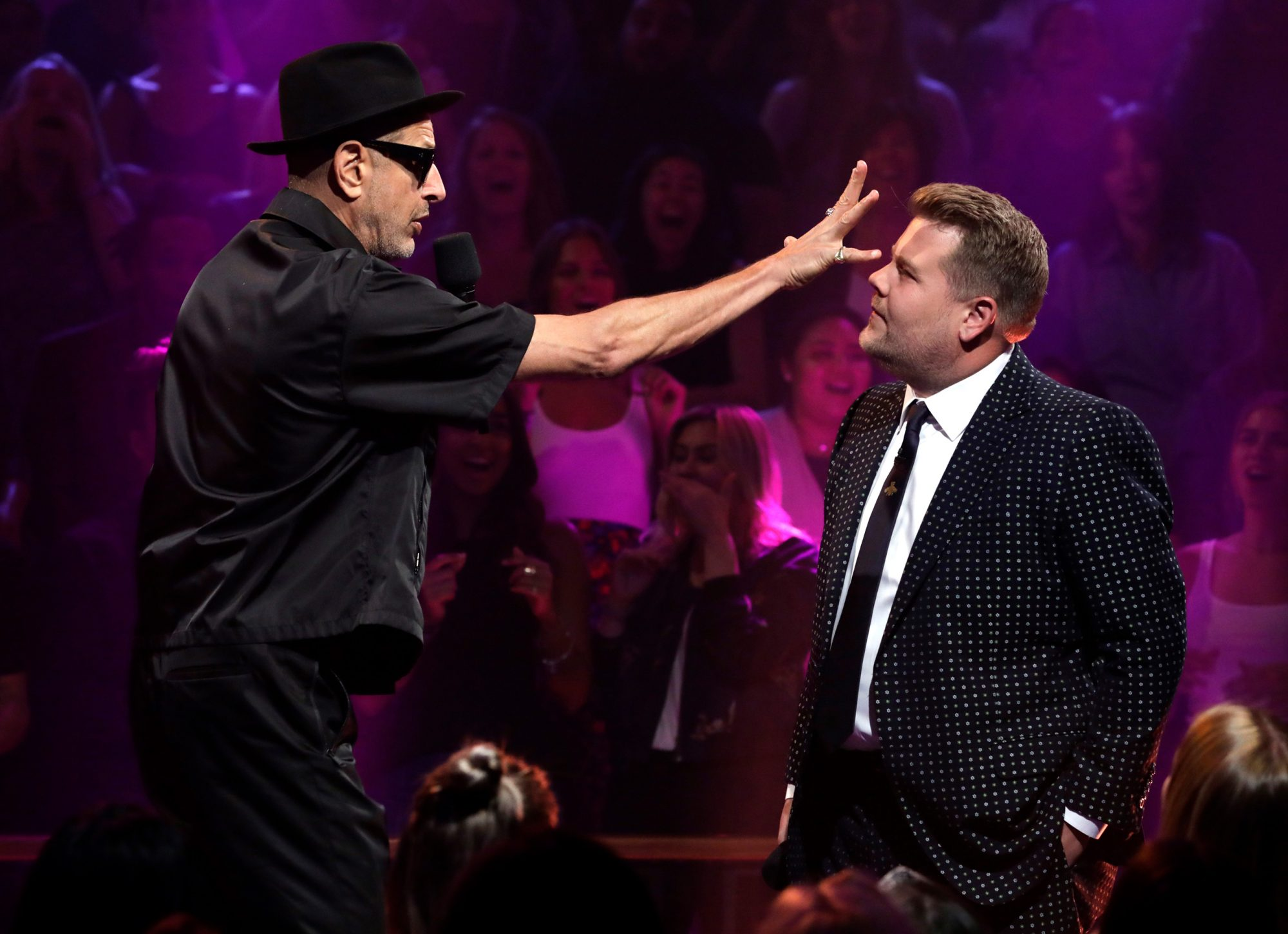 Jeff Goldblum performs a sketch, Drop The Mic, with James on THE LATE LATE SHOW WITH JAMES CORDEN