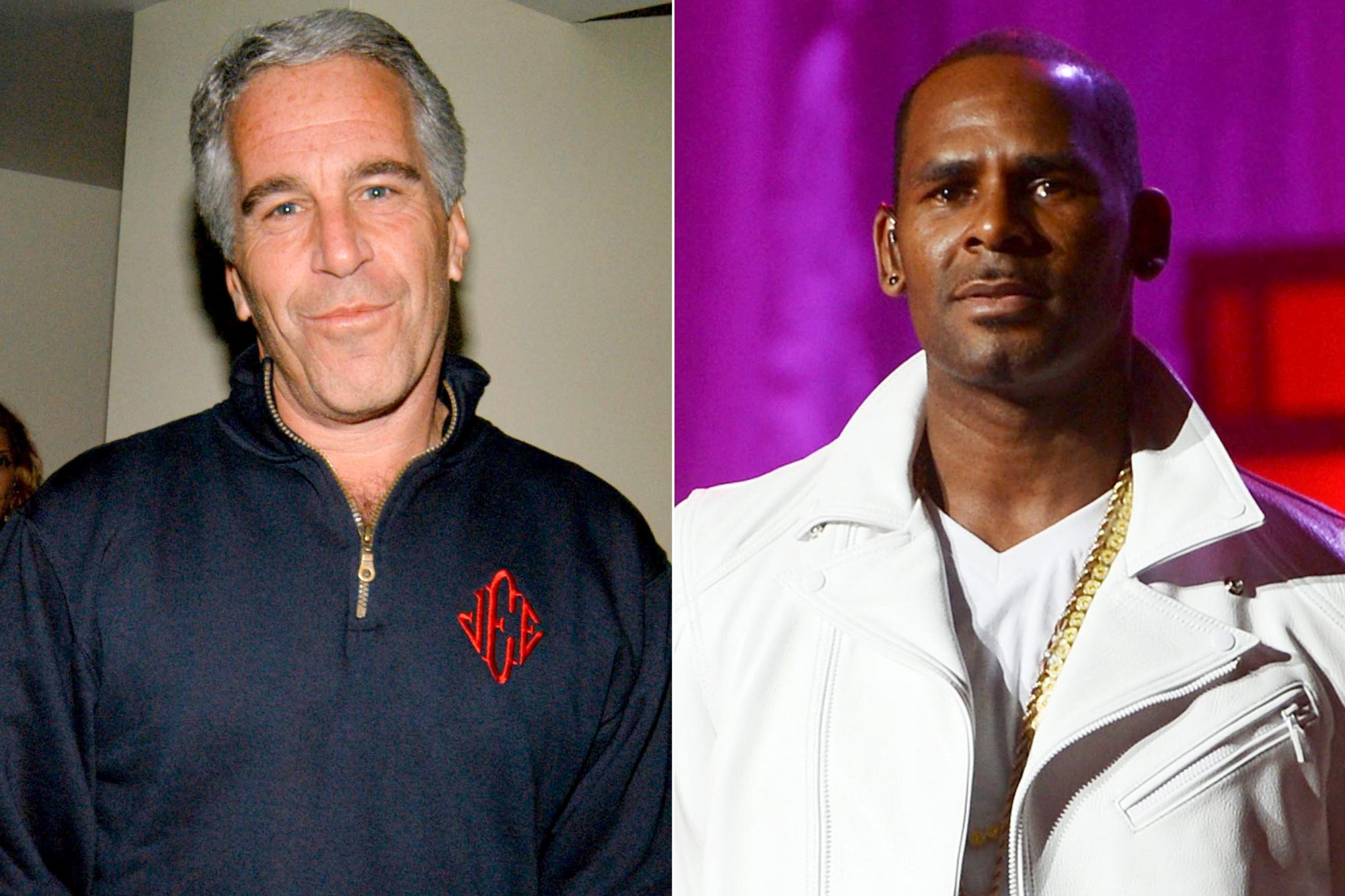 NEW YORK, NY - MAY 18: Jeffrey Epstein attends Launch of RADAR MAGAZINE at Hotel QT on May 18, 2005. (Photo by Neil Rasmus/Patrick McMullan via Getty Images) NEW YORK, NY - NOVEMBER 21: R. Kelly performs at MSG Theater on November 21, 2012 in New York City. (Photo by Jason Kempin/Getty Images)