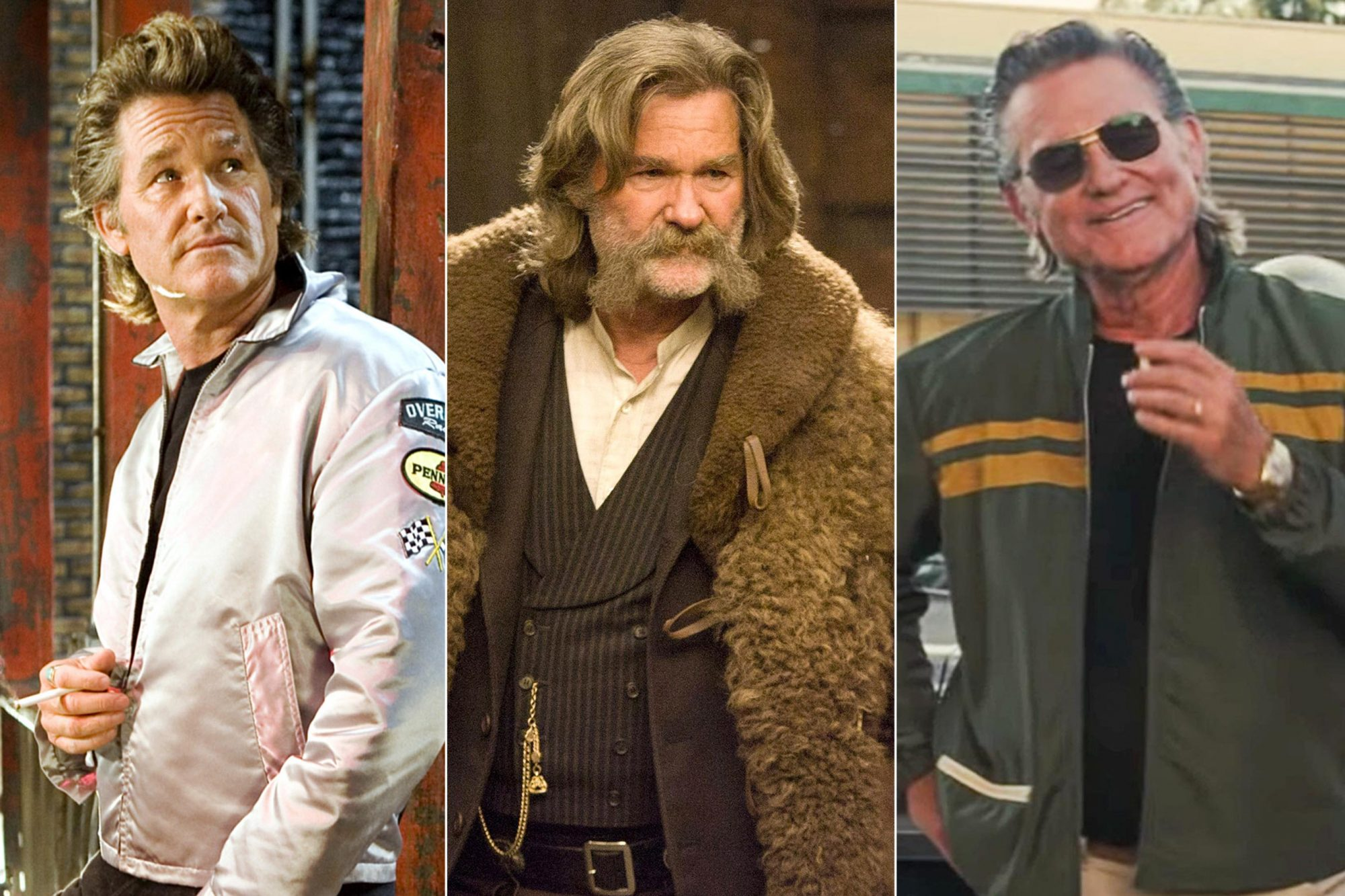 DEATH PROOF, (Quentin Tarantino segment from GRINDHOUSE), Kurt Russell, 2007. ©Weinstein Company LLC/Courtesy Everett Collection THE HATEFUL EIGHT, from left: Kurt Russell, 2015. ph: Andrew Cooper / © The Weinstein Company / Courtesy Everett Collection ONCE UPON A TIME IN HOLLYWOOD screen grab https://www.youtube.com/watch?v=ELeMaP8EPAA Kurt Russell CR: Columbia Pictures