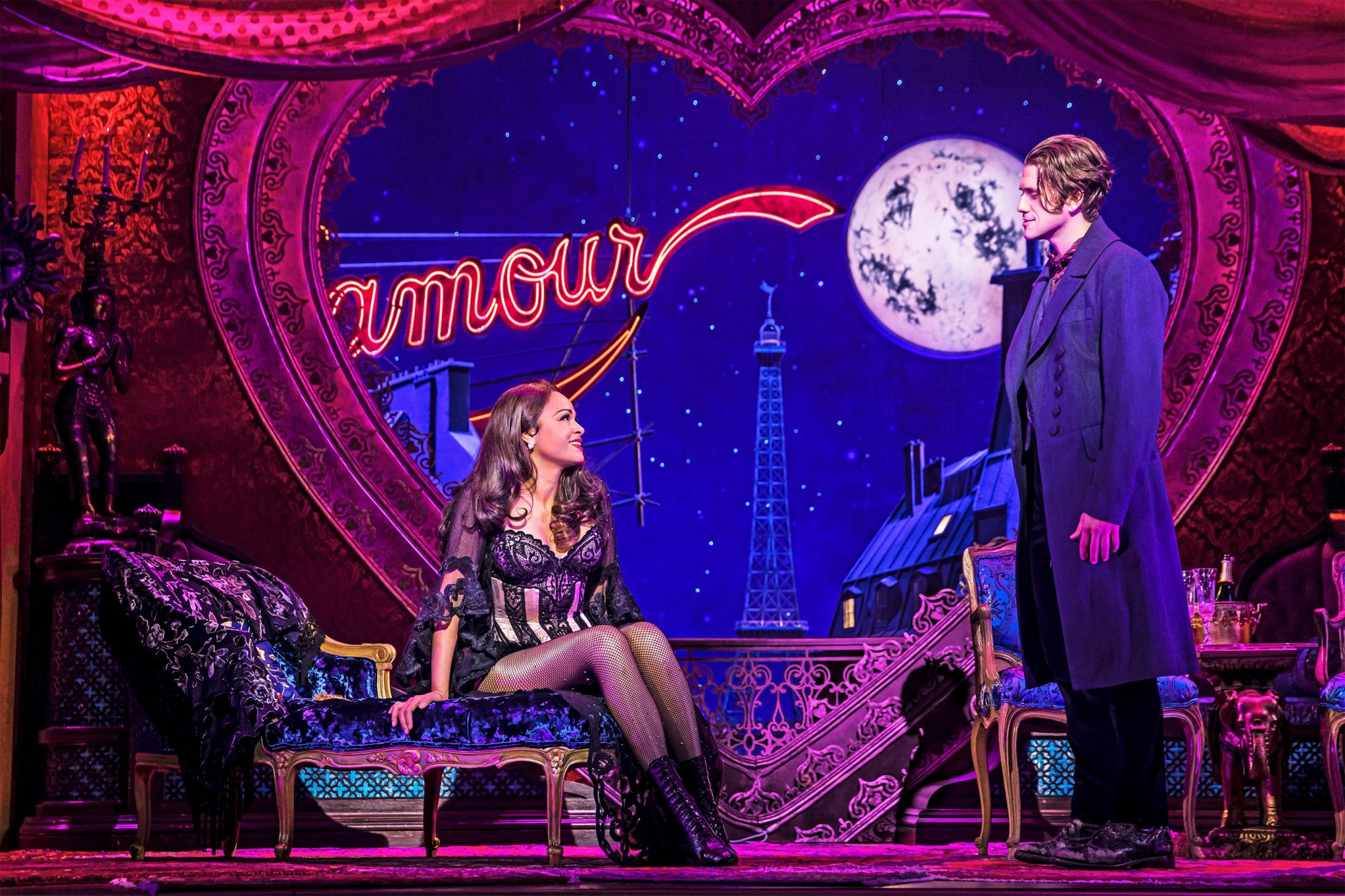 Moulin Rouge Broadway Karen Olivo as Satine and Aaron Tveit as Christian © Matthew Murphy, 2019