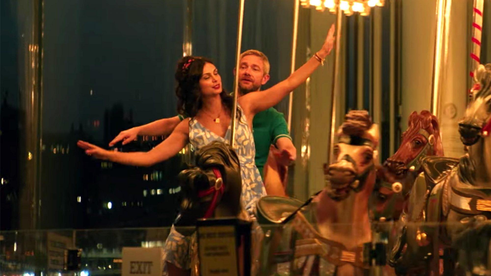 Ode to Joy (screen grab) Martin Freeman & Morena Baccarin - Official Trailer I HD I IFC Films https://www.youtube.com/watch?v=2HHDGIC01YI CR: IFC Films