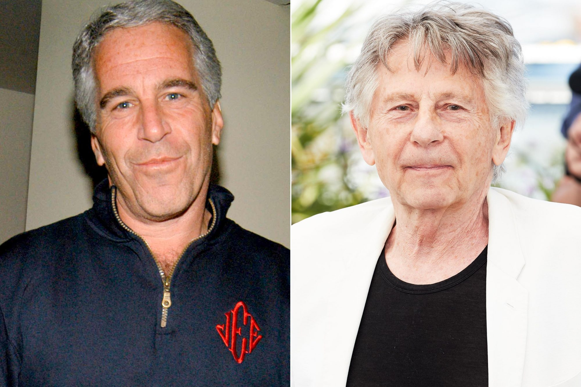 """NEW YORK, NY - MAY 18: Jeffrey Epstein attends Launch of RADAR MAGAZINE at Hotel QT on May 18, 2005. (Photo by Neil Rasmus/Patrick McMullan via Getty Images) CANNES, FRANCE - MAY 27: Director Roman Polanski attends the """"Based On A True Story"""" photocall during the 70th annual Cannes Film Festival at Palais des Festivals on May 27, 2017 in Cannes, France. (Photo by Oleg Nikishin/Epsilon/Getty Images)"""
