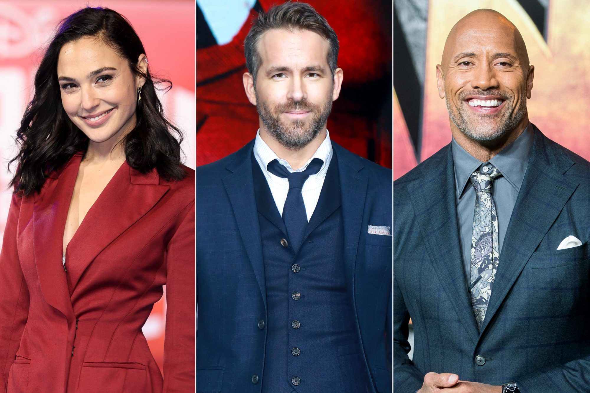 """LONDON, ENGLAND - NOVEMBER 25: Gal Gadot attends the European Premiere of """"Ralph Breaks The Internet"""" at The Curzon Mayfair on November 25, 2018 in London, England. (Photo by Mike Marsland/Mike Marsland/WireImage) BEIJING, CHINA - JANUARY 20: Actor Ryan Reynolds attends the premiere of 'Deadpool 2' at Park Hyatt Hotel on January 20, 2019 in Beijing, China. (Photo by VCG/VCG via Getty Images) LONDON, ENGLAND - DECEMBER 07: Dwayne Johnson attends the 'Jumanji: Welcome To The Jungle UK premiere held at Vue West End on December 7, 2017 in London, England. (Photo by Samir Hussein/Samir Hussein/WireImage)"""