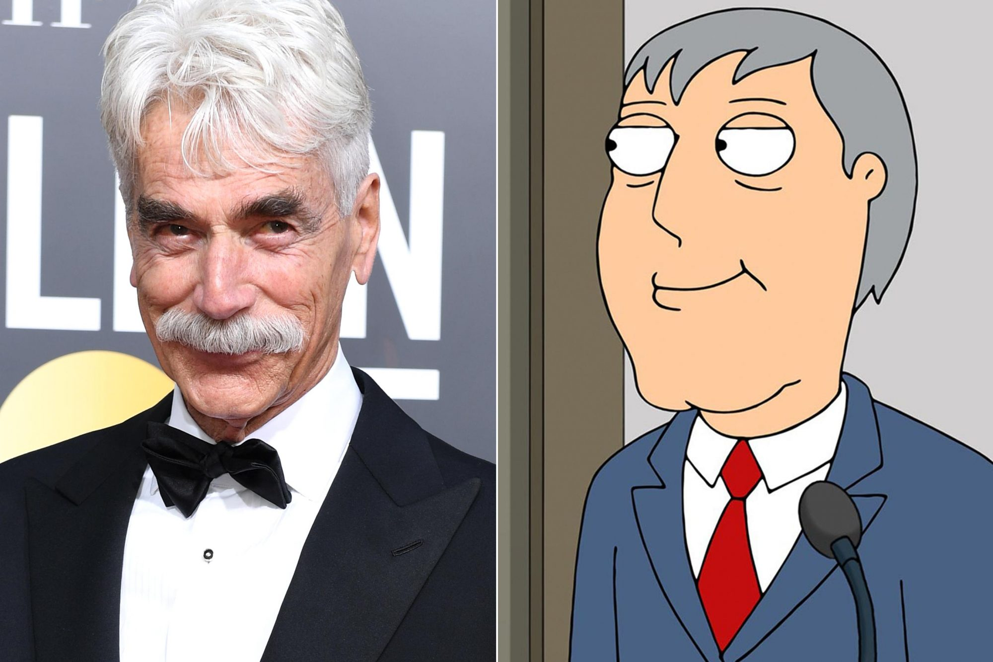 Actor Sam Elliott arrives for the 76th annual Golden Globe Awards on January 6, 2019, at the Beverly Hilton hotel in Beverly Hills, California. (Photo by VALERIE MACON / AFP) (Photo credit should read VALERIE MACON/AFP/Getty Images) FAMILY GUY, l-r: Mayor Adam West (voice: Adam West), Peter Griffin (voice: Seth MacFarlane) in 'JOLO' (Season 13, Episode 14, aired April 12, 2015). TM and Copyright ©20th Century Fox Film Corp. All rights reserved./courtesy Everett Collection
