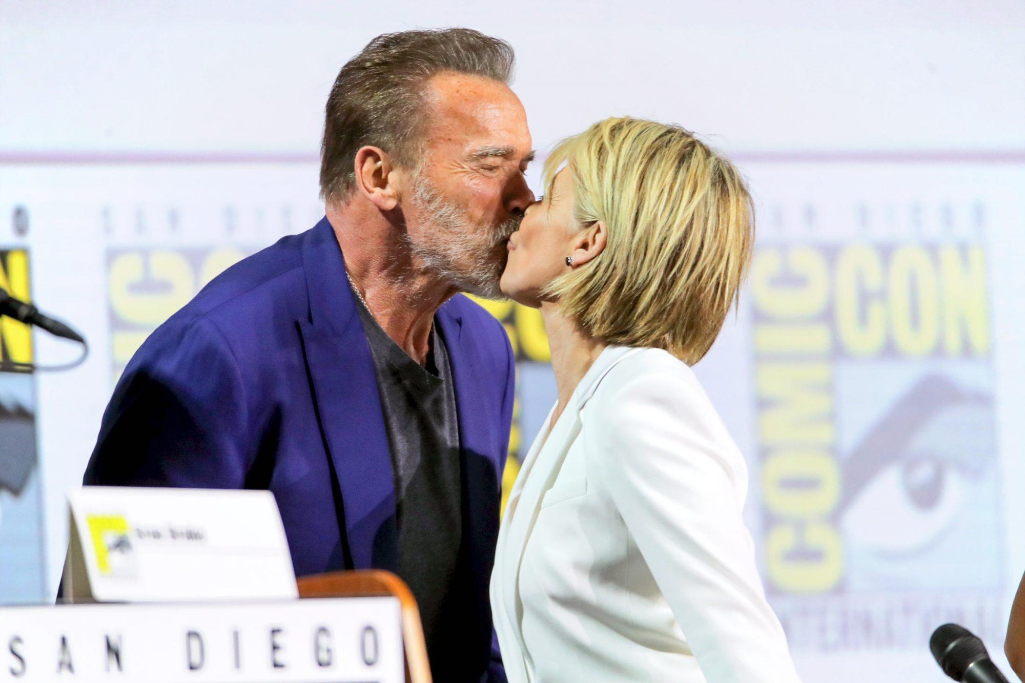Mandatory Credit: Photo by Chelsea Lauren/Variety/Shutterstock (10338127j) Arnold Schwarzenegger and Linda Hamilton 'Terminator: Dark Fate' film panel, Comic-Con International, San Diego, USA - 18 Jul 2019