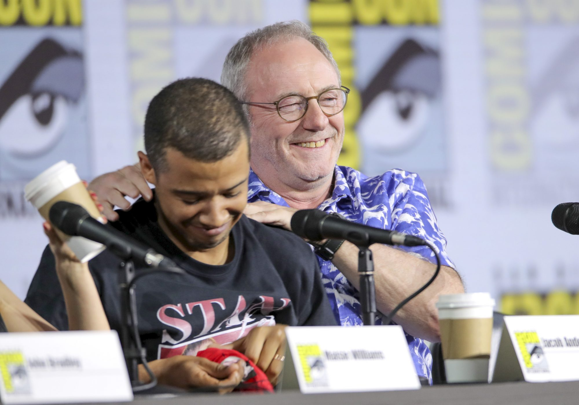 Mandatory Credit: Photo by Chelsea Lauren/Variety/Shutterstock (10341166as) Jacob Anderson and Liam Cunningham 'Game of Thrones' TV show panel, Comic-Con International, San Diego, USA - 19 Jul 2019
