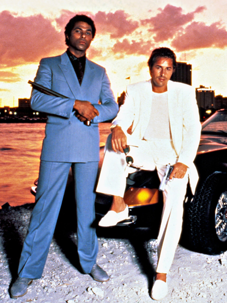 Don Johnson, Miami Vice, ... | NBC, 1984-89 Don Johnson's snazzy blazers, pastel shirts, light linen pants, and sockless loafers inspired men across the country to get in touch with their…
