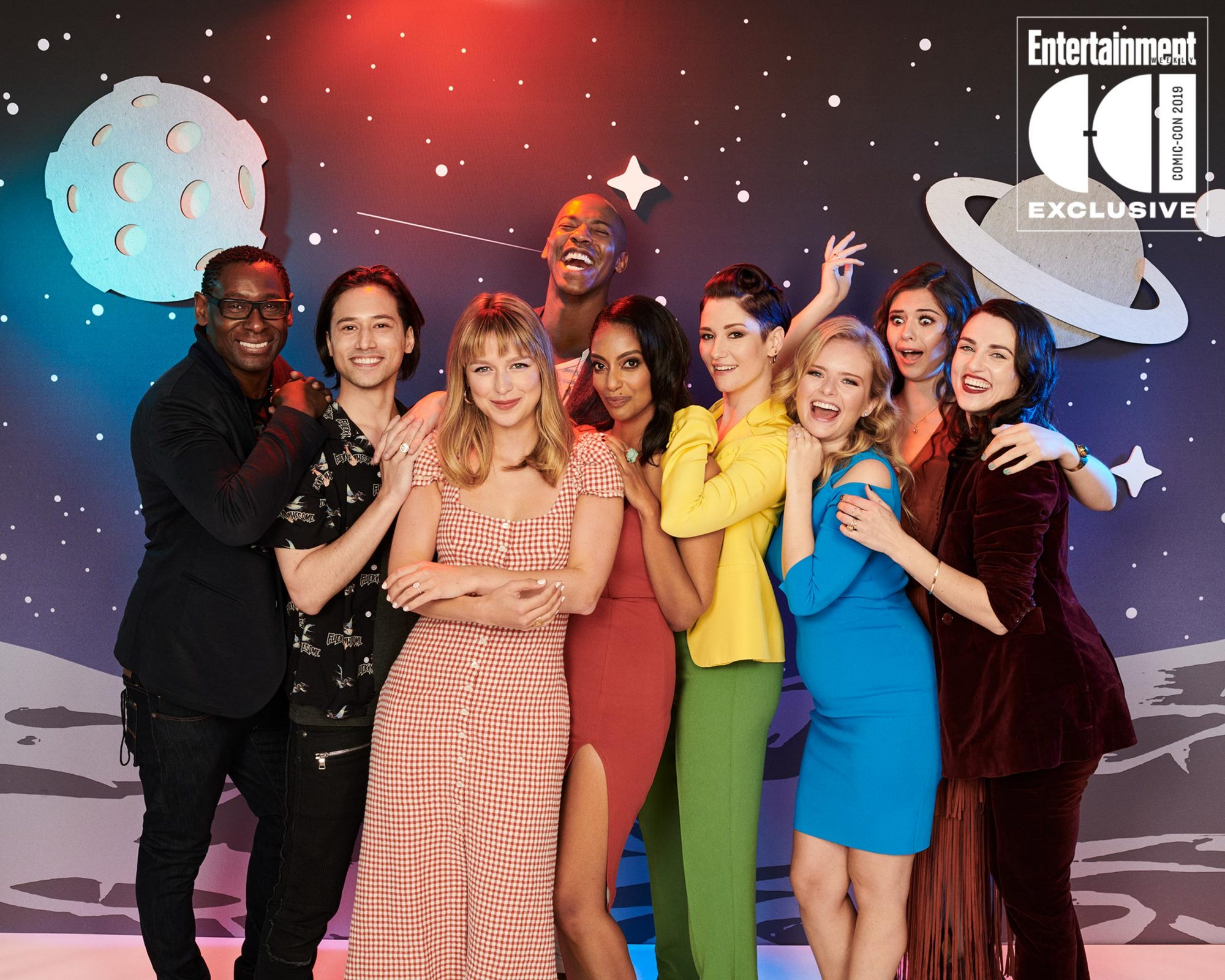 Day 3 - 2019 SDCC - San Diego Comic-Con Cast of Supergirl photographed in the Entertainment Weekly portrait studio during the 2019 San Diego Comic Con on July 20th, 2019 in San Diego, California. Photographed by: Eric Ray Davidson Pictured: David Harewood, Jesse Rath, Melissa Benoist, Mehcad Brooks, Azie Tesfai, Chyler Leigh, Andrea Brooks, Nicole Maines, Film/Show: Supergirl