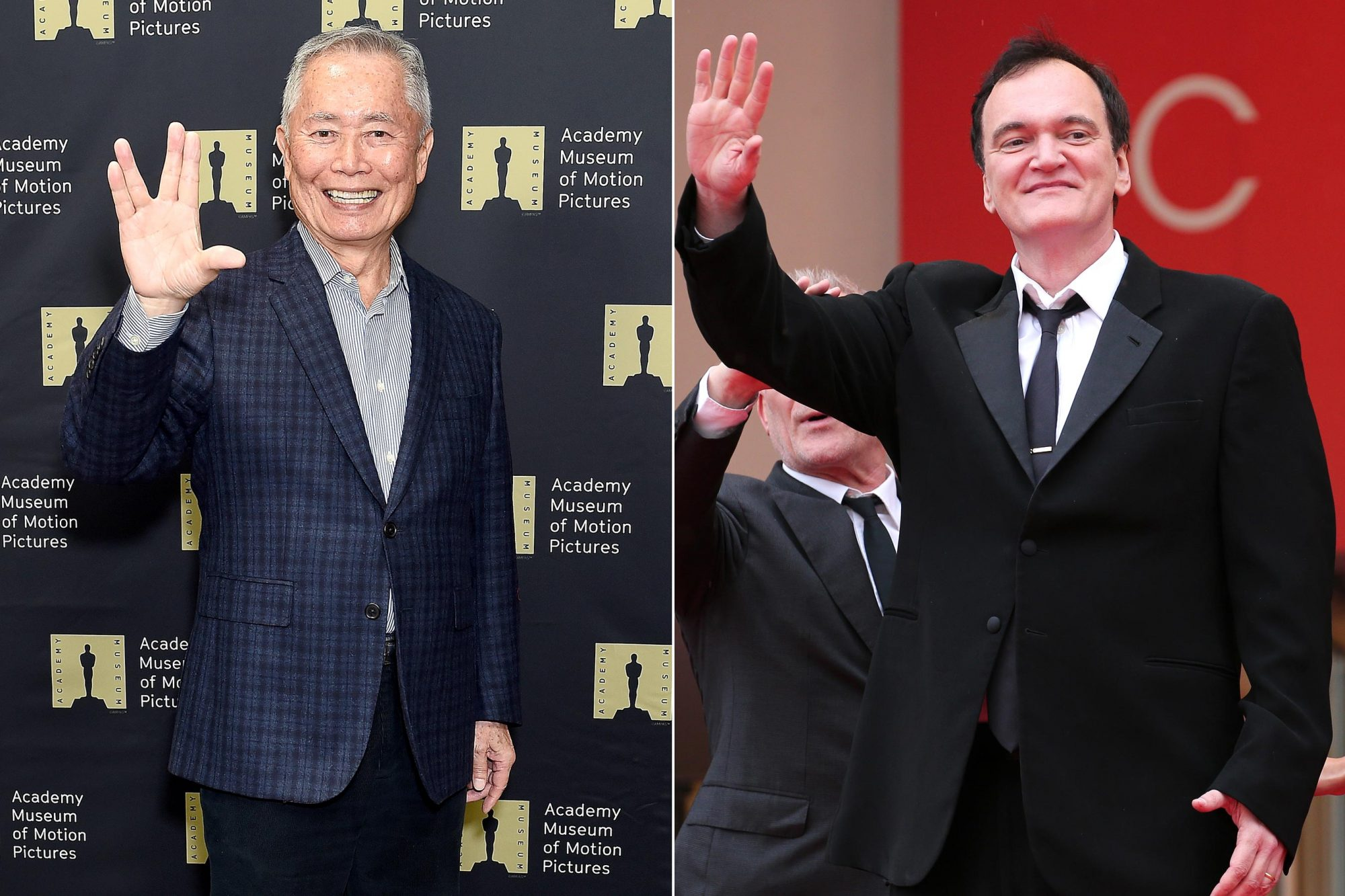"""LOS ANGELES, CA - DECEMBER 04: George Takei attends The Academy Museum Of Motion Pictures Unveiling of the Fully Restored Saban Building at Petersen Automotive Museum on December 4, 2018 in Los Angeles, California. (Photo by Gregg DeGuire/Getty Images) CANNES, FRANCE - MAY 18: Quentin Tarantino attends the screening of """"The Wild Goose Lake (Nan Fang Che Zhan De Ju Hui/ Le Lac Aux Oies Sauvages)"""" during the 72nd annual Cannes Film Festival on May 18, 2019 in Cannes, France. (Photo by Gisela Schober/Getty Images)"""
