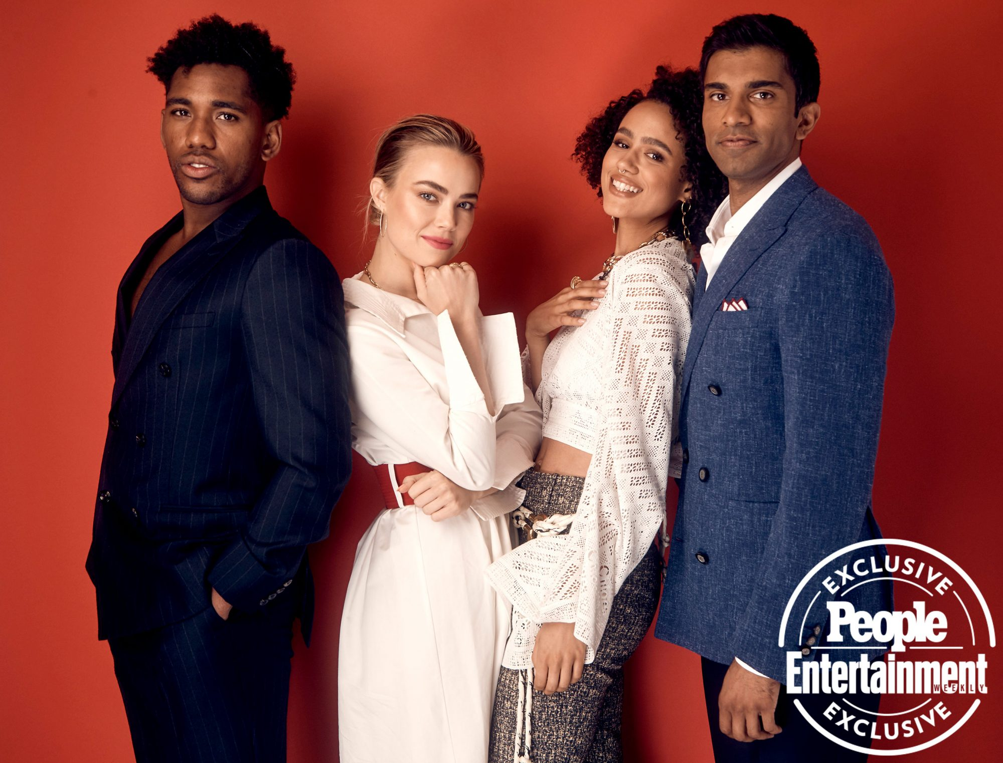 Brandon Mychal Smith, Rebecca Rittenhouse , Nathalie Emmanuel, and Nikesh Patel