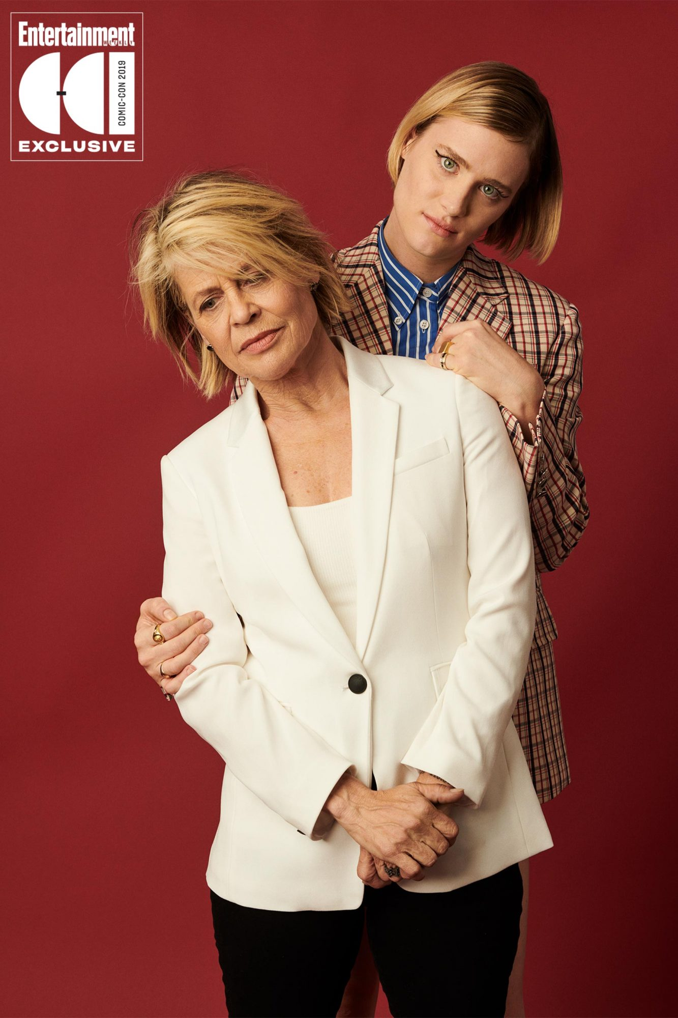 Day 1 - 2019 SDCC - San Diego Comic-con Linda Hamilton and Mackenzie Davis photographed in the Entertainment Weekly portrait studio during the 2019 San Diego Comic Con on July 18th, 2019 in San Diego, California. Photographed by: Eric Ray Davidson Pictured: Linda Hamilton and Mackenzie Davis Film/Show: Terminator: Dark Fate