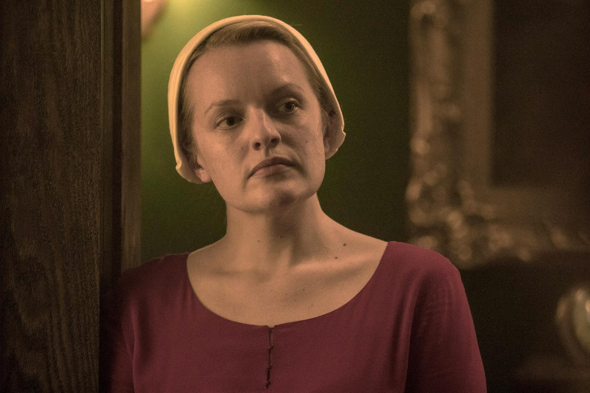 "The Handmaid's Tale -- ""Unfit"" - Episode 308 -- June and the rest of the Handmaids shun Ofmatthew, and both are pushed to their limit at the hands of Aunt Lydia. Aunt Lydia reflects on her life and relationships before the rise of Gilead. June (Elisabeth Moss), shown. (Photo by: Jasper Savage/Hulu)"